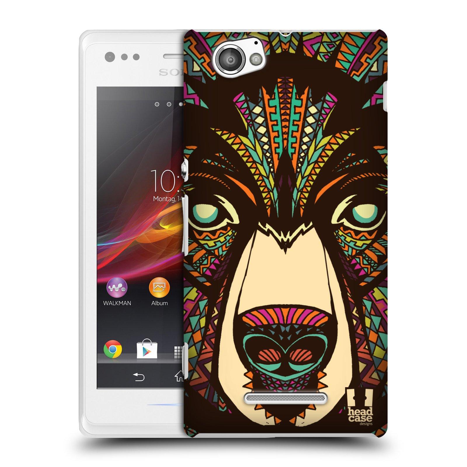 Plastové pouzdro na mobil Sony Xperia M C1905 HEAD CASE AZTEC MEDVĚD