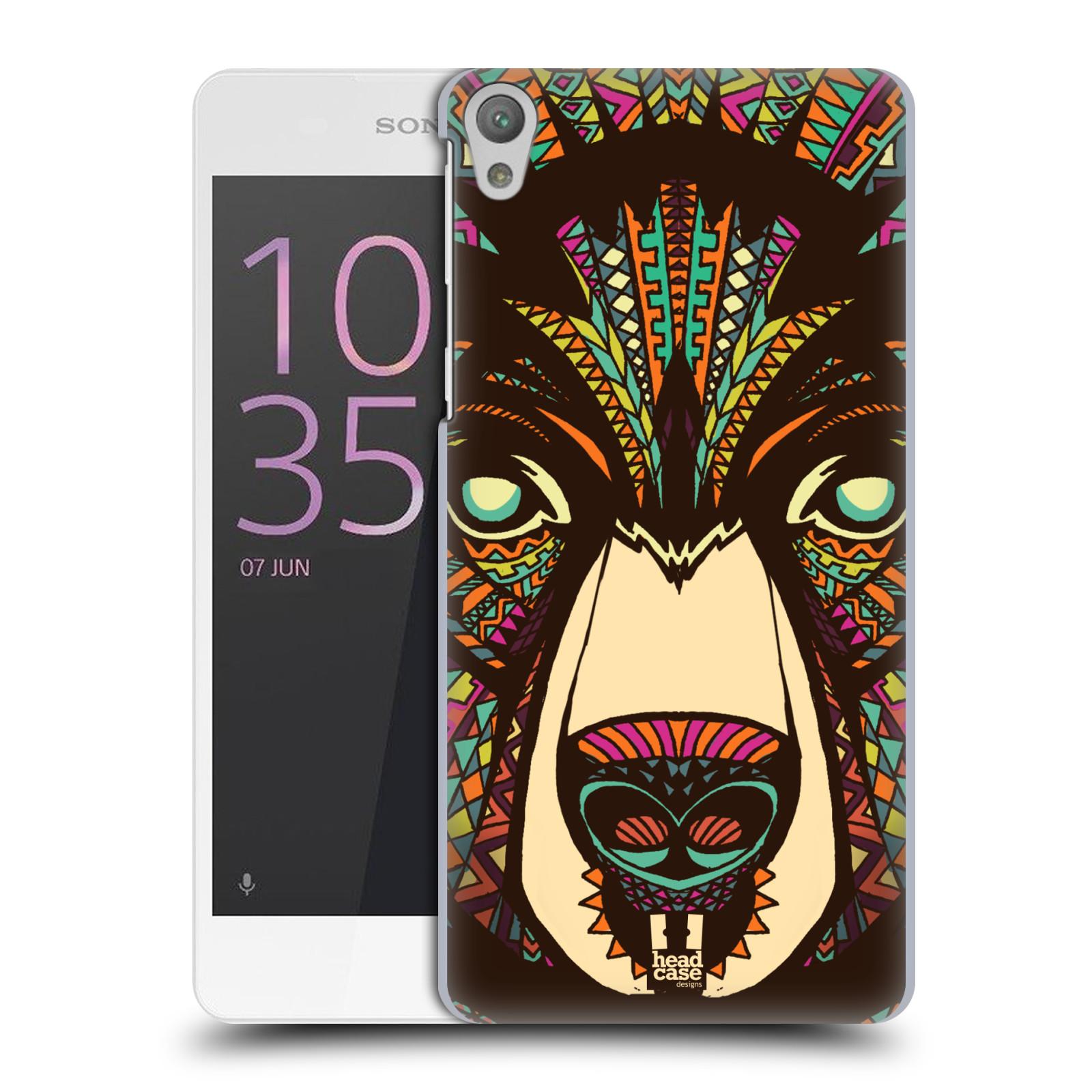 Plastové pouzdro na mobil Sony Xperia E5 HEAD CASE AZTEC MEDVĚD