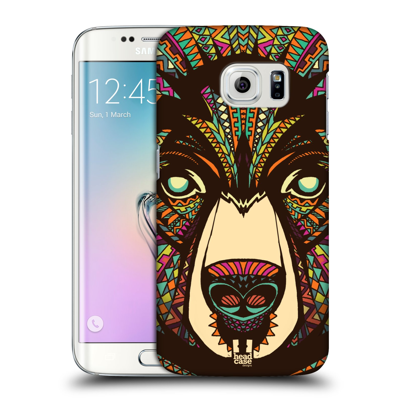 Plastové pouzdro na mobil Samsung Galaxy S6 Edge HEAD CASE AZTEC MEDVĚD