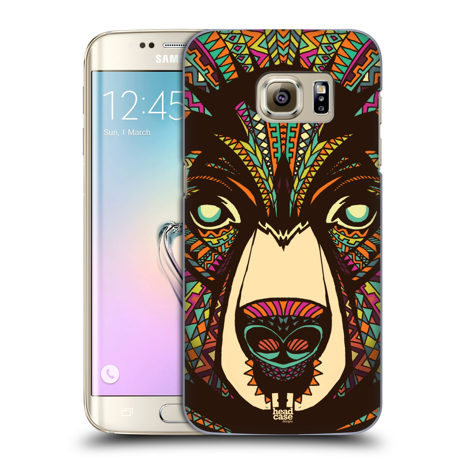 Plastové pouzdro na mobil Samsung Galaxy S7 Edge HEAD CASE AZTEC MEDVĚD (Kryt či obal na mobilní telefon Samsung Galaxy S7 Edge SM-G935F)