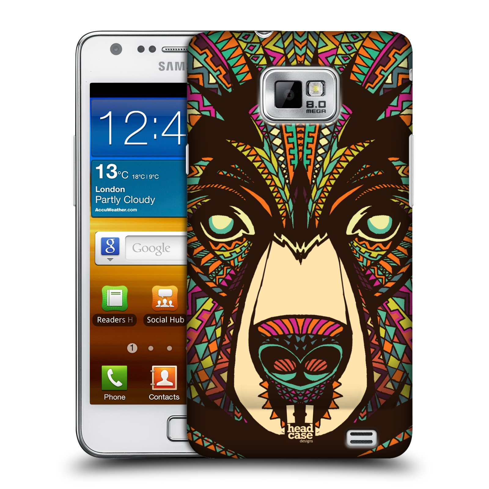 Plastové pouzdro na mobil Samsung Galaxy S II HEAD CASE AZTEC MEDVĚD (Kryt či obal na mobilní telefon Samsung Galaxy S II GT-i9100)