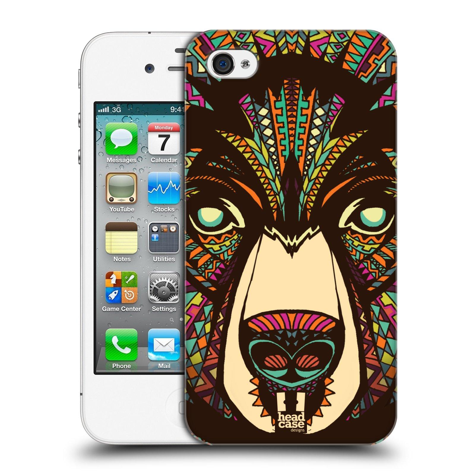 Plastové pouzdro na mobil Apple iPhone 4 a 4S HEAD CASE AZTEC MEDVĚD