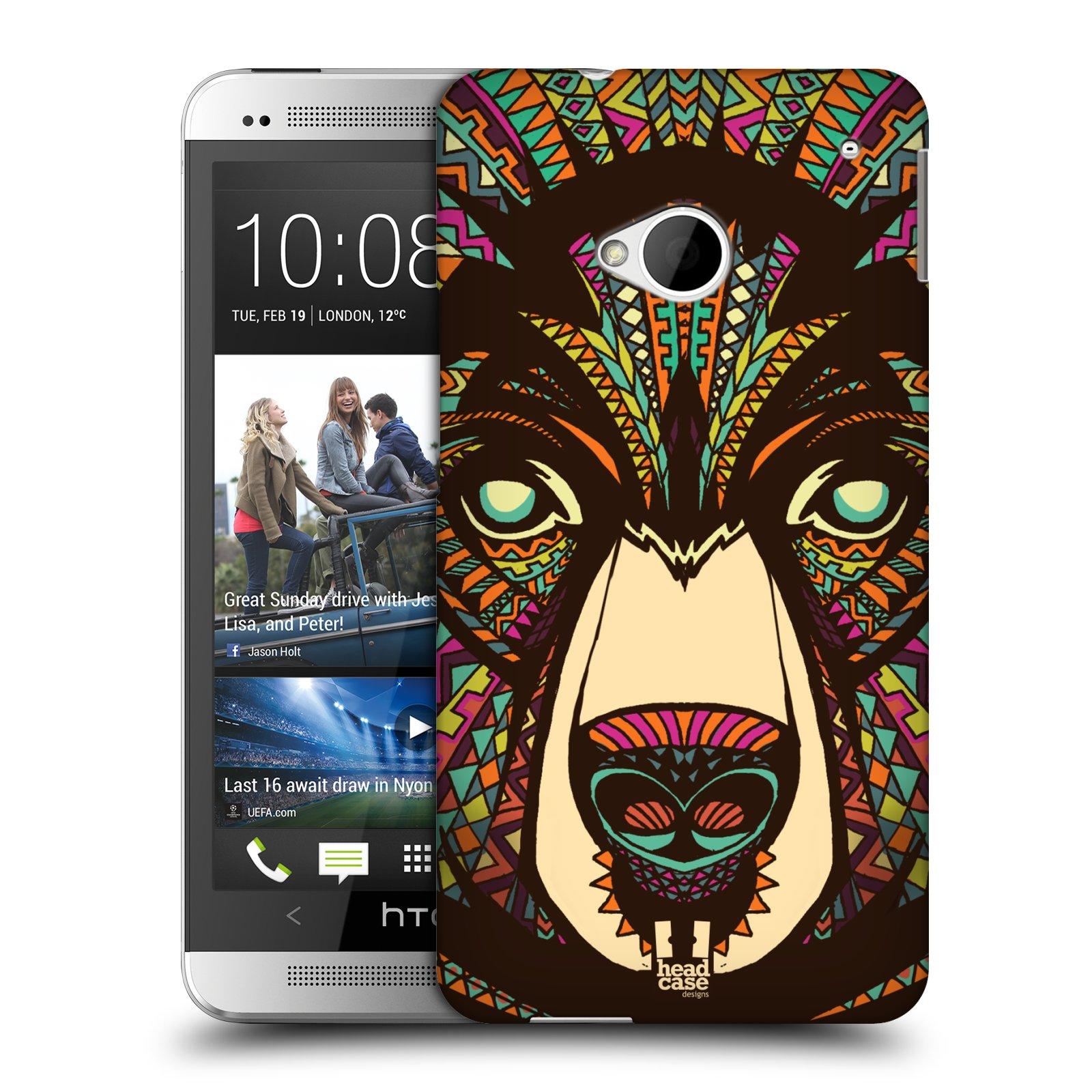 Plastové pouzdro na mobil HTC ONE M7 HEAD CASE AZTEC MEDVĚD (Kryt či obal na mobilní telefon HTC ONE M7)