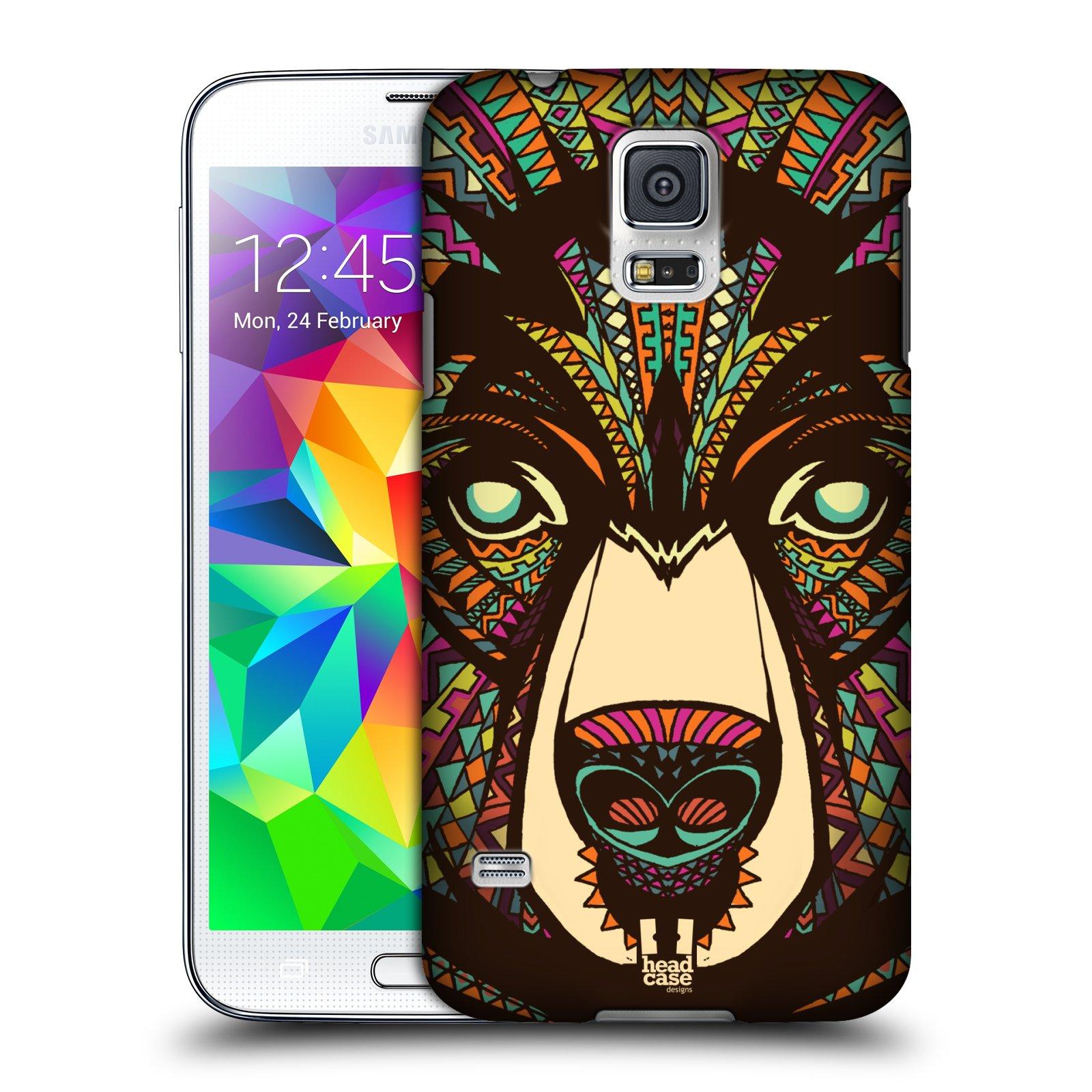 Plastové pouzdro na mobil Samsung Galaxy S5 HEAD CASE AZTEC MEDVĚD