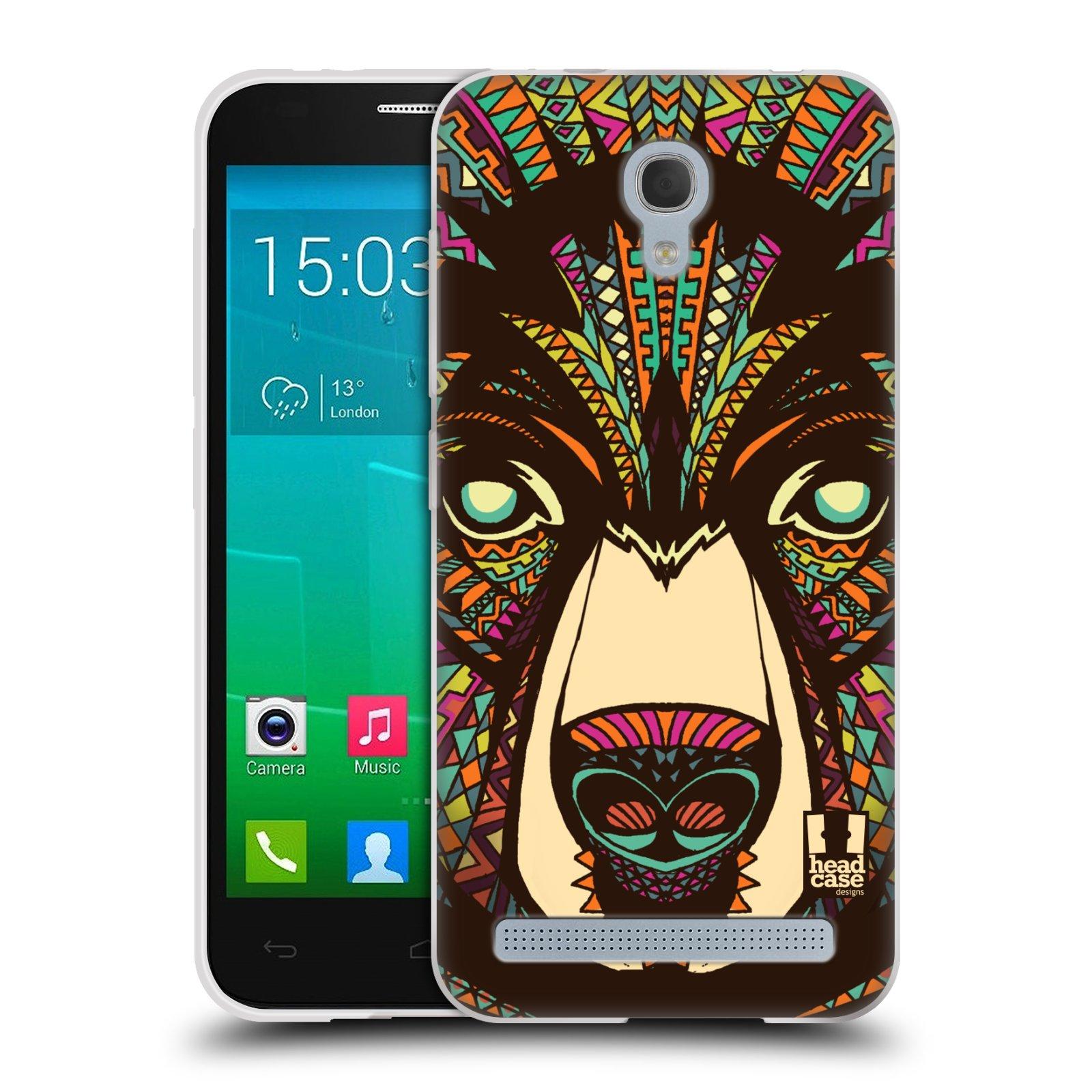 Silikonové pouzdro na mobil Alcatel One Touch Idol 2 Mini S 6036Y HEAD CASE AZTEC MEDVĚD (Silikonový kryt či obal na mobilní telefon Alcatel Idol 2 Mini S OT-6036Y)