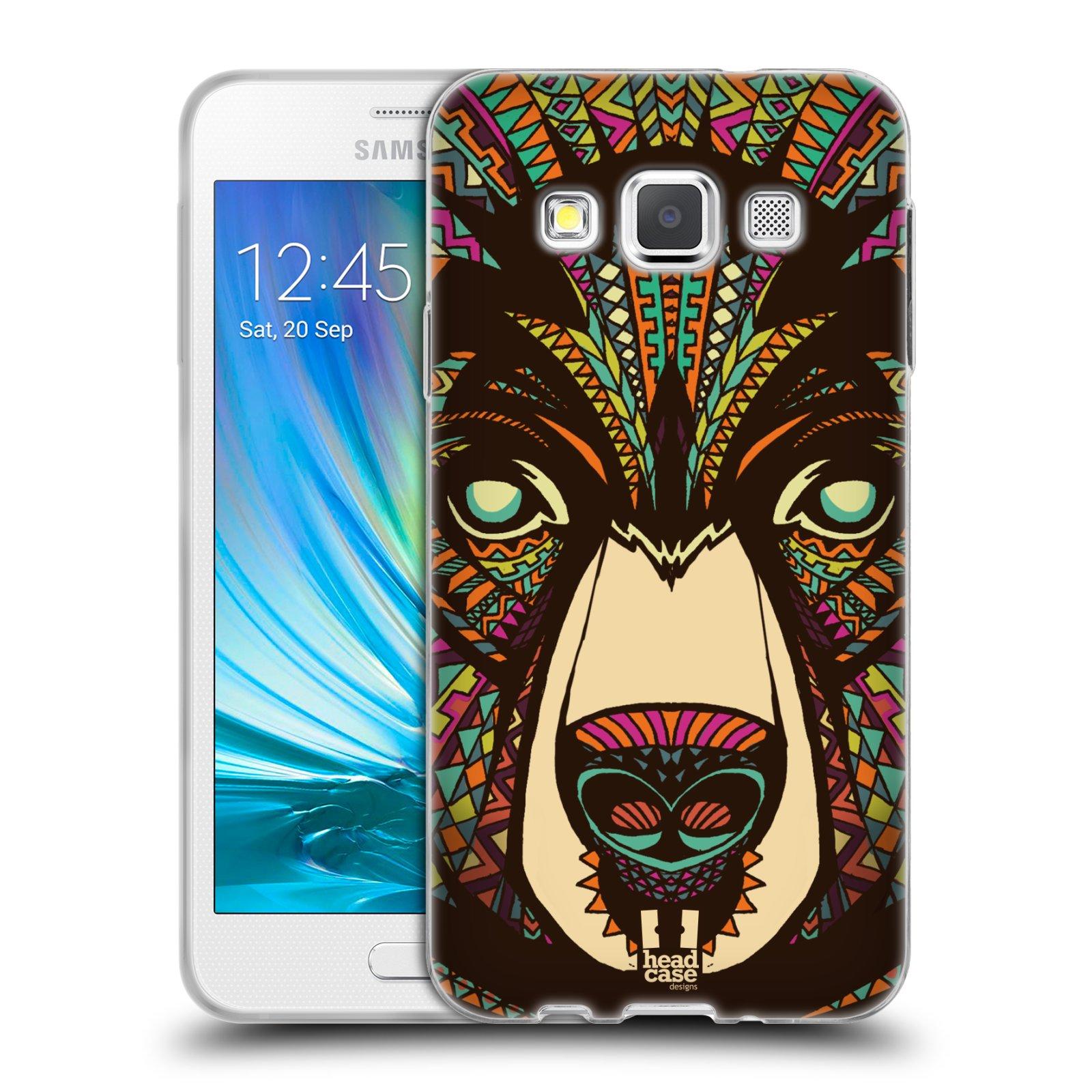 Silikonové pouzdro na mobil Samsung Galaxy A3 HEAD CASE AZTEC MEDVĚD