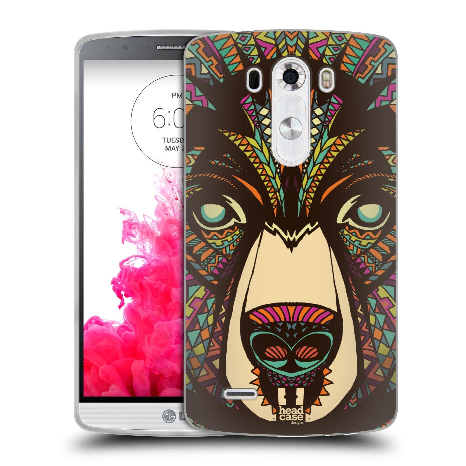 Silikonové pouzdro na mobil LG G3 HEAD CASE AZTEC MEDVĚD (Silikonový kryt či obal na mobilní telefon LG G3 D855)