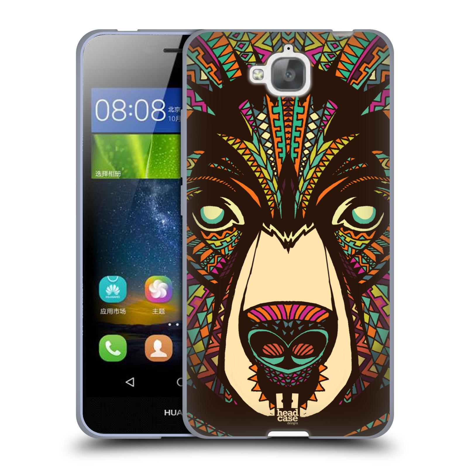 Silikonové pouzdro na mobil Huawei Y6 Pro Dual Sim HEAD CASE AZTEC MEDVĚD