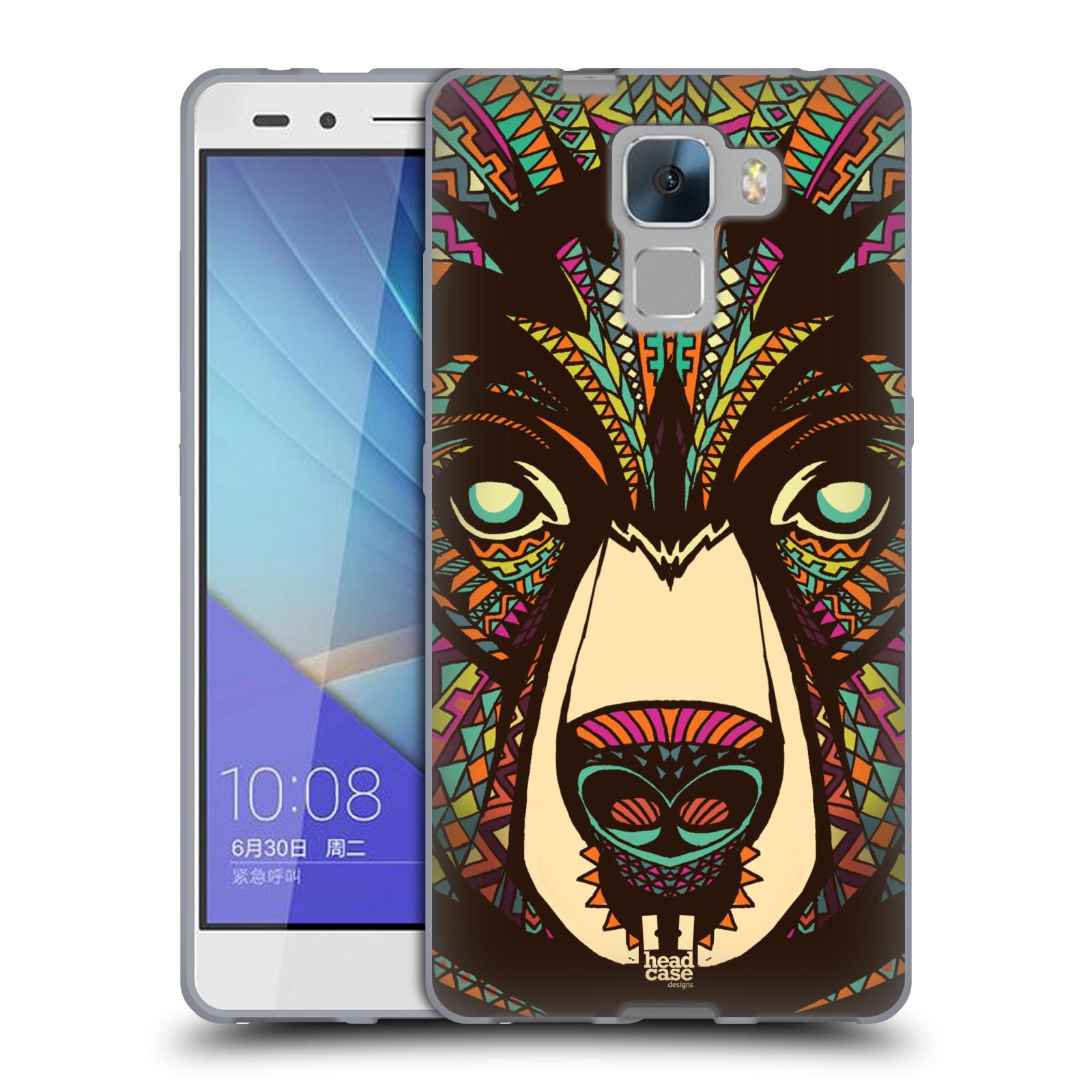 Silikonové pouzdro na mobil Honor 7 HEAD CASE AZTEC MEDVĚD