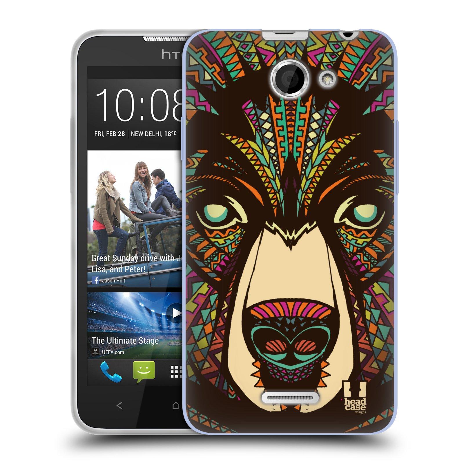 Silikonové pouzdro na mobil HTC Desire 516 HEAD CASE AZTEC MEDVĚD (Silikonový kryt či obal na mobilní telefon HTC Desire 516 Dual SIM)