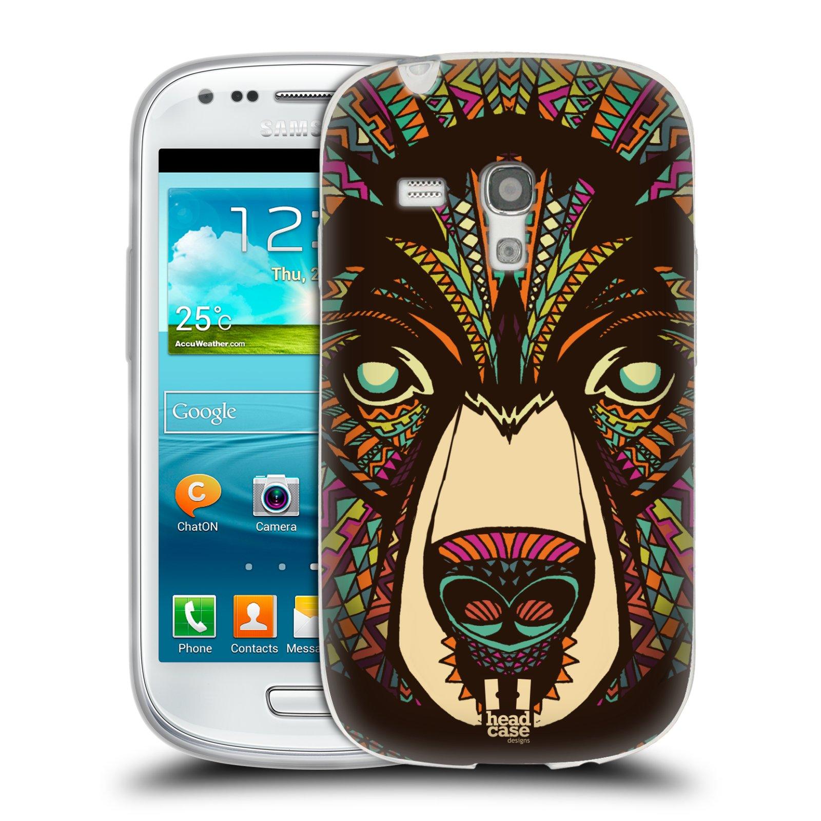 Silikonové pouzdro na mobil Samsung Galaxy S III Mini HEAD CASE AZTEC MEDVĚD (Silikonový kryt či obal na mobilní telefon Samsung Galaxy S III Mini GT-i8190)