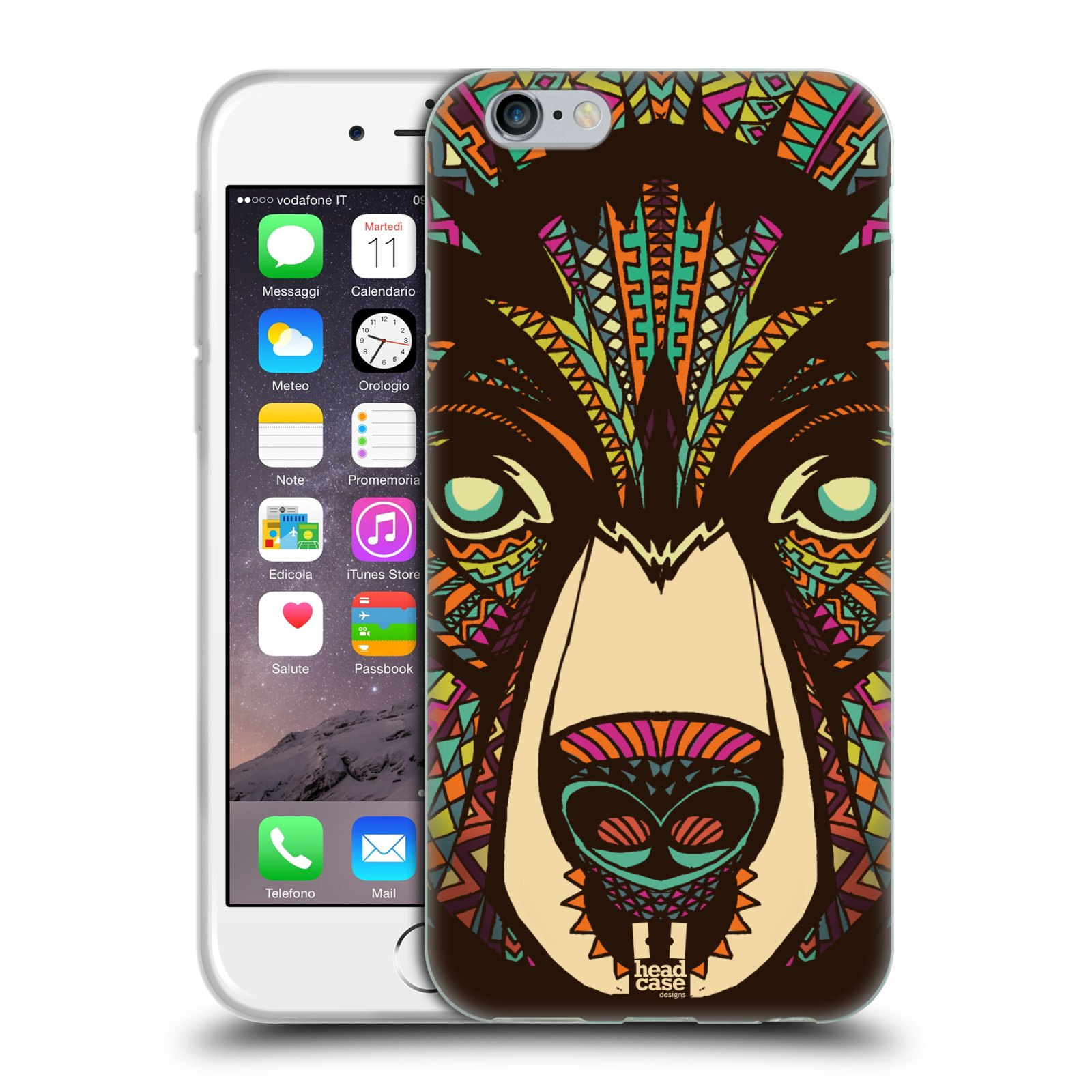 Silikonové pouzdro na mobil Apple iPhone 6 a 6S HEAD CASE AZTEC MEDVĚD