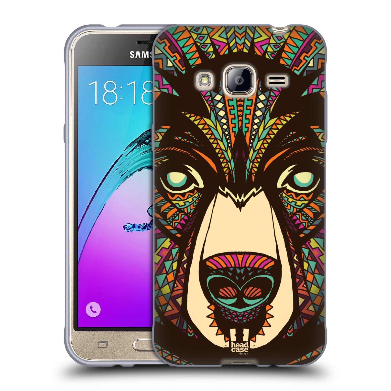 Silikonové pouzdro na mobil Samsung Galaxy J3 (2016) HEAD CASE AZTEC MEDVĚD