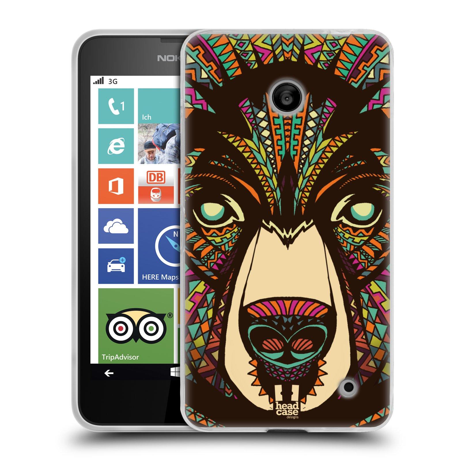 Silikonové pouzdro na mobil Nokia Lumia 630 HEAD CASE AZTEC MEDVĚD (Silikonový kryt či obal na mobilní telefon Nokia Lumia 630 a Nokia Lumia 630 Dual SIM)