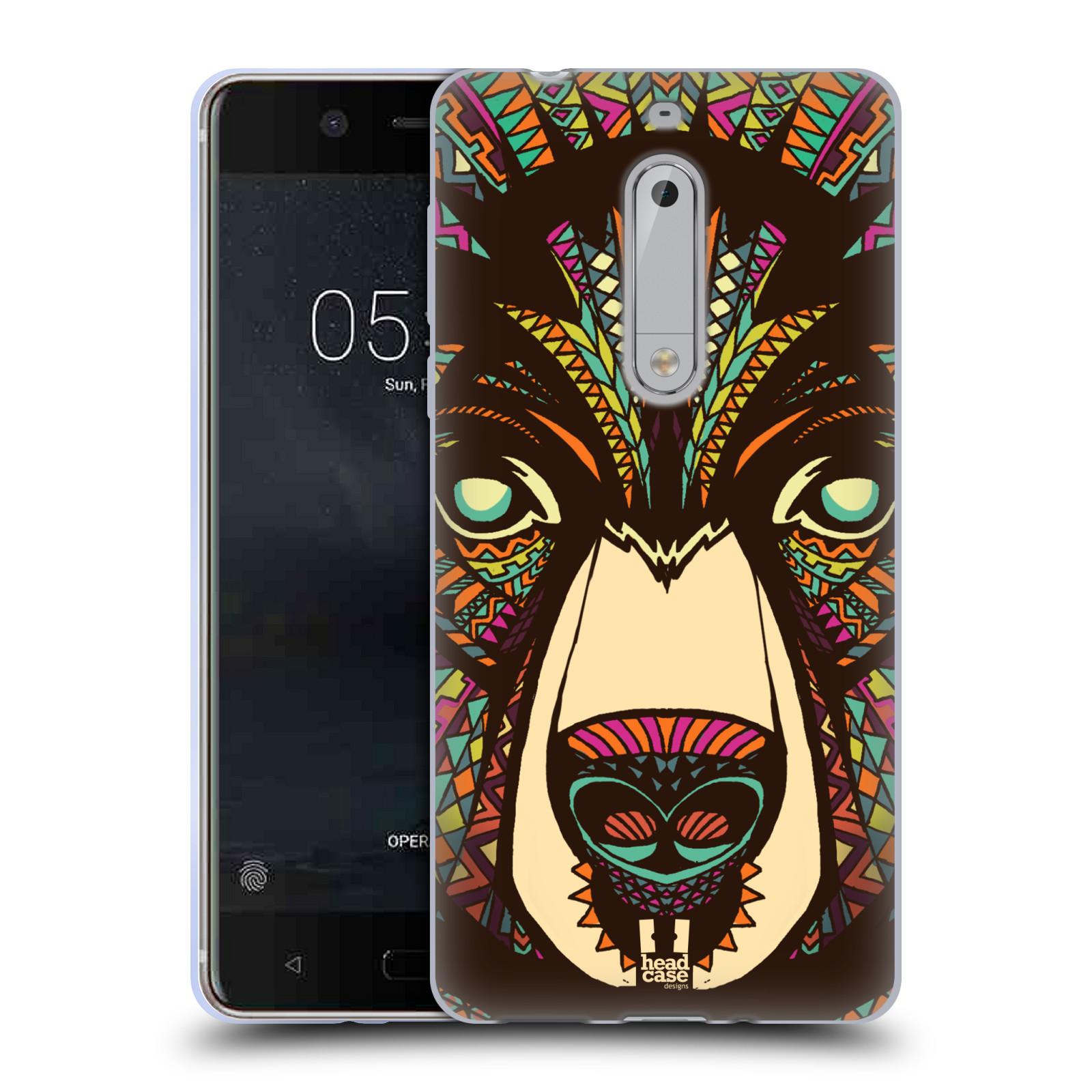 Silikonové pouzdro na mobil Nokia 5 Head Case - AZTEC MEDVĚD