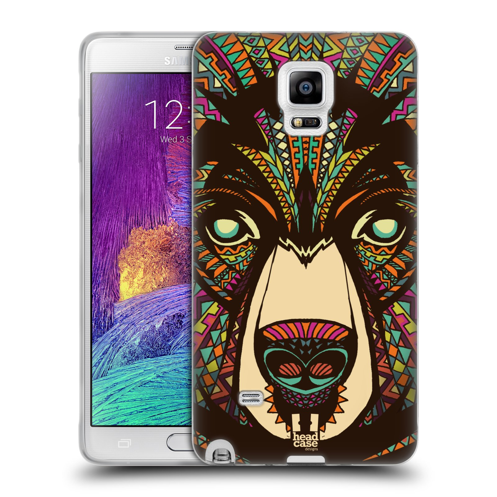 Silikonové pouzdro na mobil Samsung Galaxy Note 4 HEAD CASE AZTEC MEDVĚD (Silikonový kryt či obal na mobilní telefon Samsung Galaxy Note 4 SM-N910F)