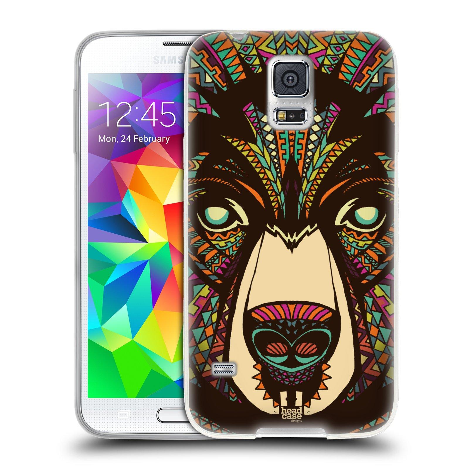 Silikonové pouzdro na mobil Samsung Galaxy S5 HEAD CASE AZTEC MEDVĚD