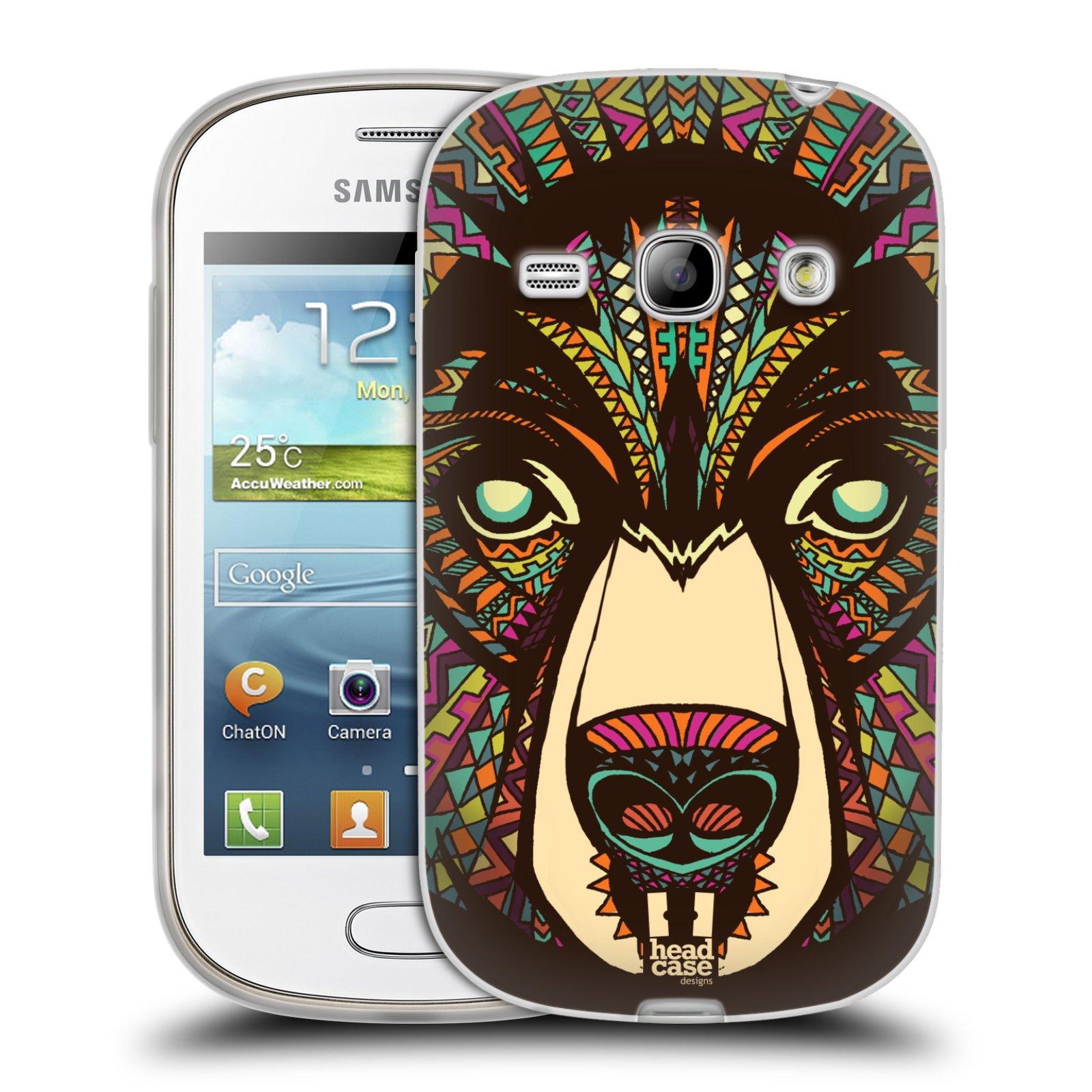 Silikonové pouzdro na mobil Samsung Galaxy Fame HEAD CASE AZTEC MEDVĚD (Silikonový kryt či obal na mobilní telefon Samsung Galaxy Fame GT-S6810)
