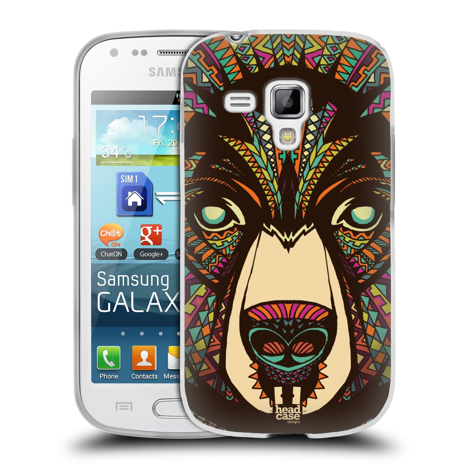 Silikonové pouzdro na mobil Samsung Galaxy S Duos 2 HEAD CASE AZTEC MEDVĚD (Silikonový kryt či obal na mobilní telefon Samsung Galaxy S Duos 2 GT-S7582)