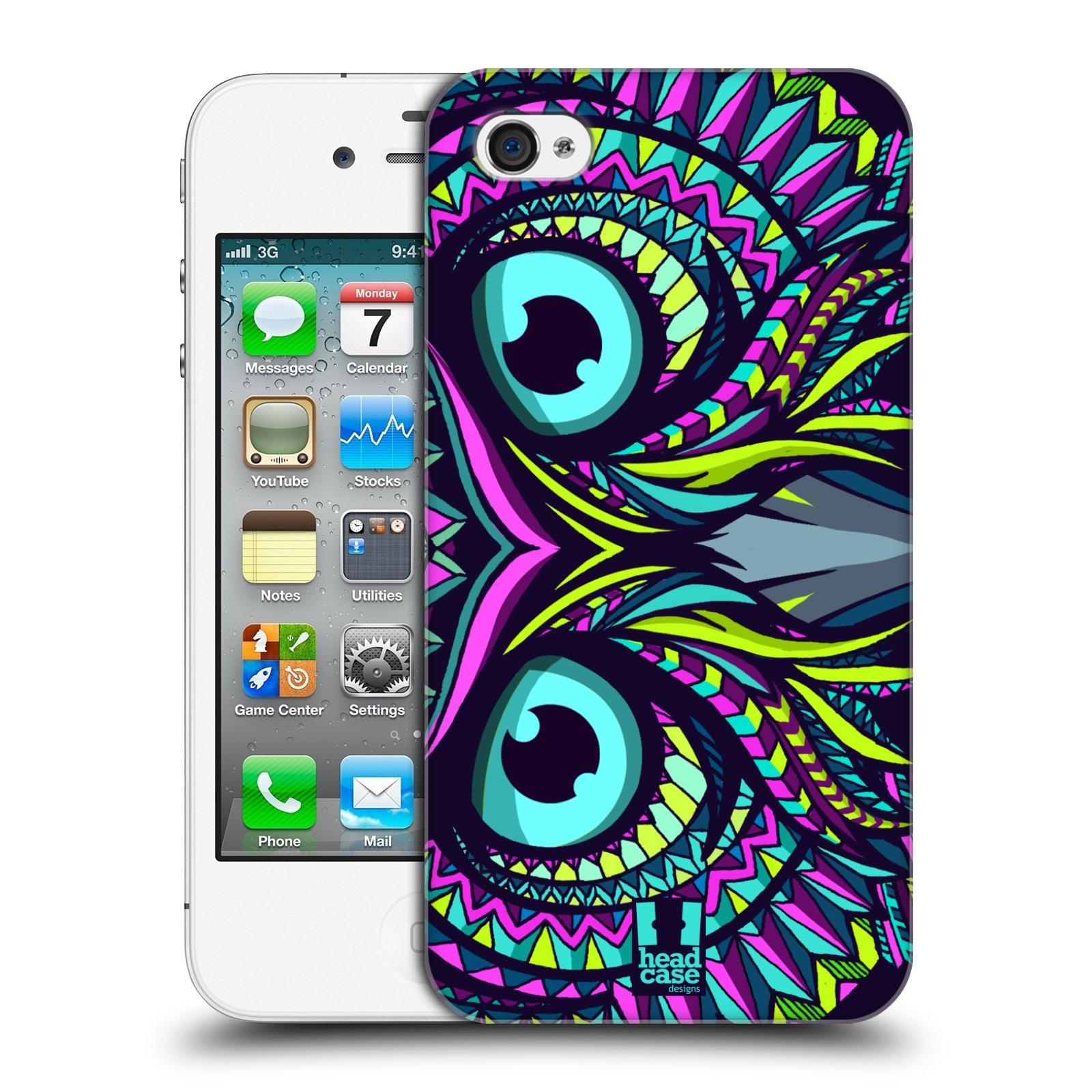 Plastové pouzdro na mobil Apple iPhone 4 a 4S HEAD CASE AZTEC SOVA