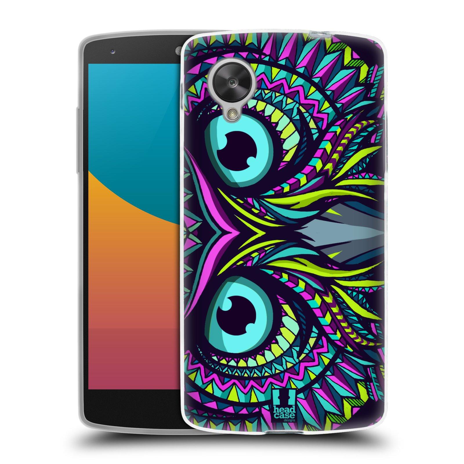 Silikonové pouzdro na mobil LG Nexus 5 HEAD CASE AZTEC SOVA (Silikonový kryt či obal na mobilní telefon LG Google Nexus 5 D821)