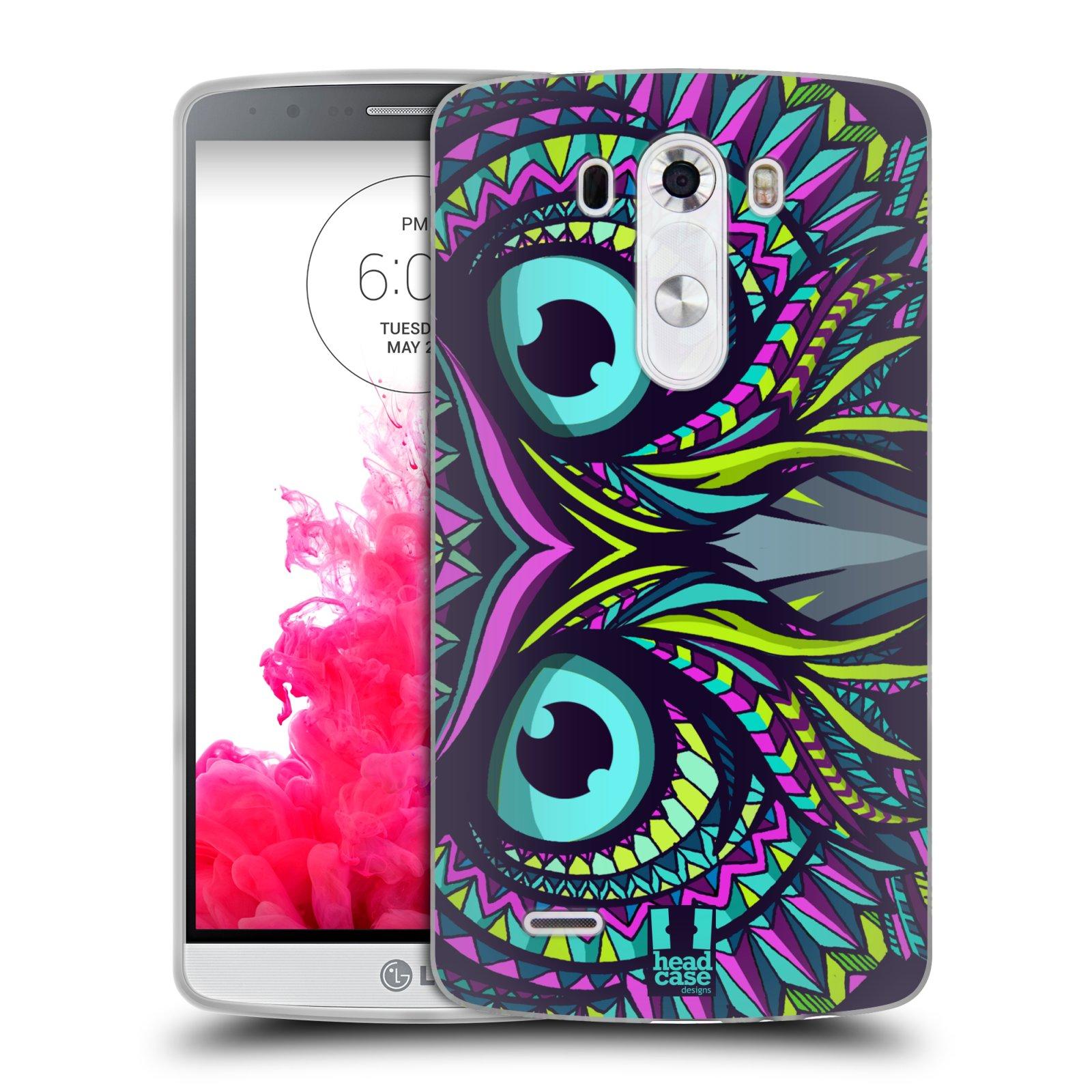 Silikonové pouzdro na mobil LG G3 HEAD CASE AZTEC SOVA (Silikonový kryt či obal na mobilní telefon LG G3 D855)