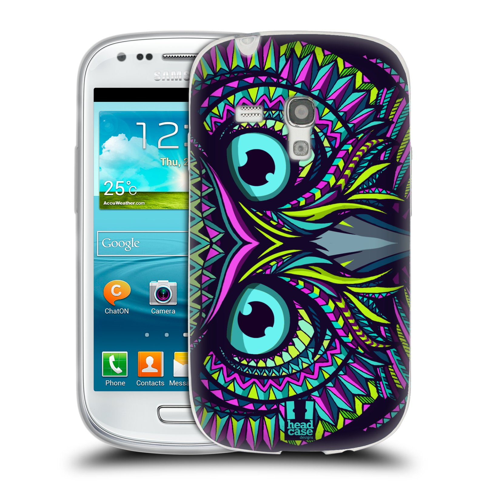 Silikonové pouzdro na mobil Samsung Galaxy S III Mini HEAD CASE AZTEC SOVA (Silikonový kryt či obal na mobilní telefon Samsung Galaxy S III Mini GT-i8190)