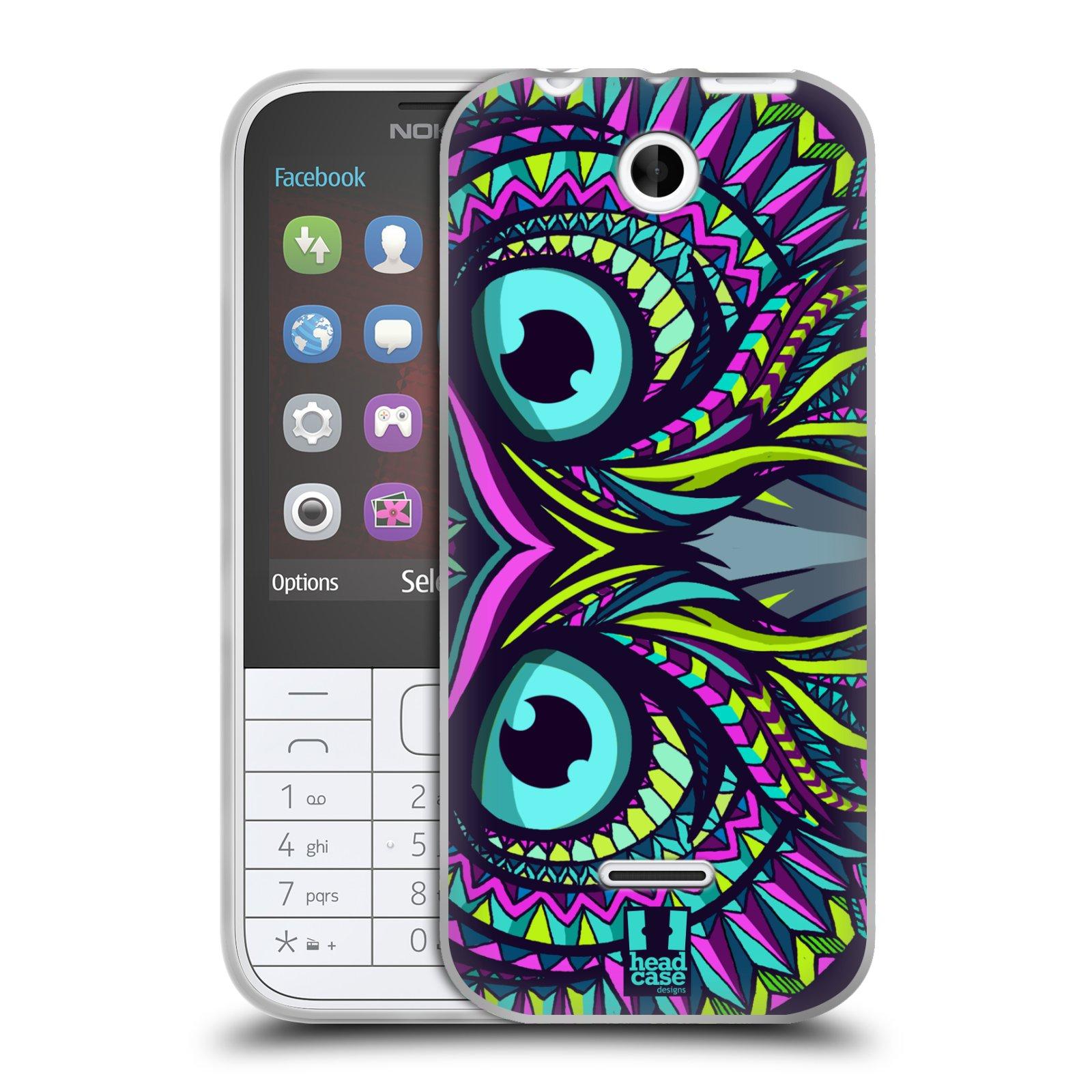 Silikonové pouzdro na mobil Nokia 225 HEAD CASE AZTEC SOVA (Silikonový kryt či obal na mobilní telefon Nokia 225)