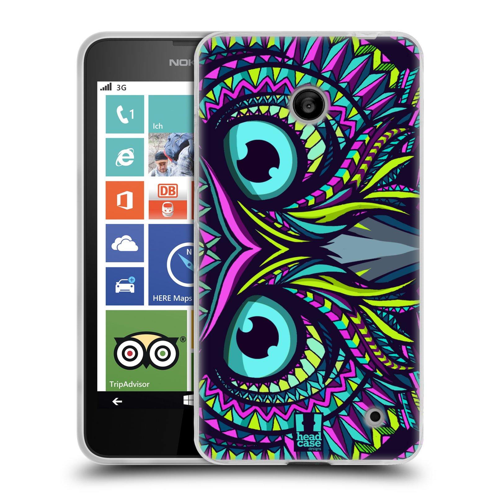 Silikonové pouzdro na mobil Nokia Lumia 630 HEAD CASE AZTEC SOVA (Silikonový kryt či obal na mobilní telefon Nokia Lumia 630 a Nokia Lumia 630 Dual SIM)