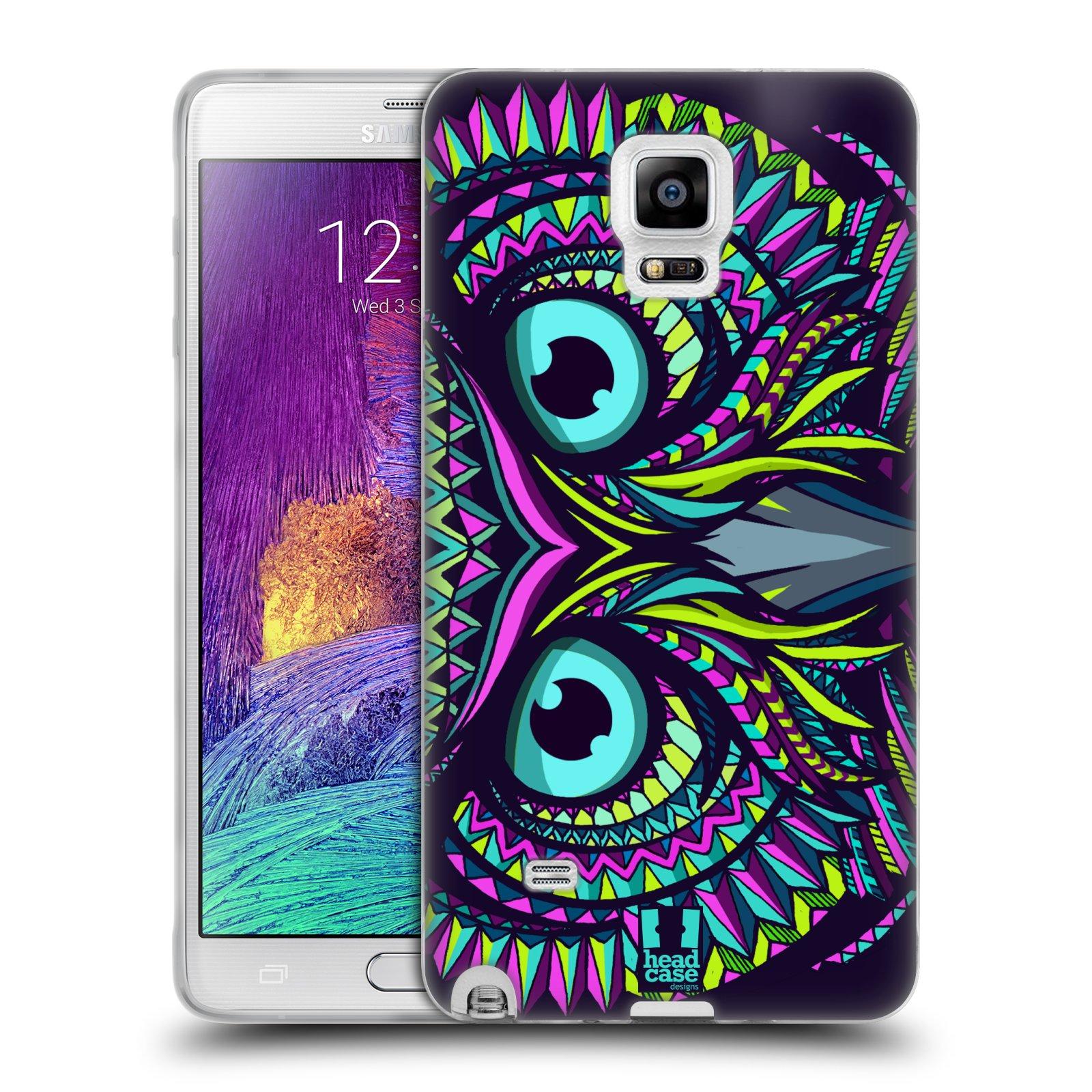 Silikonové pouzdro na mobil Samsung Galaxy Note 4 HEAD CASE AZTEC SOVA (Silikonový kryt či obal na mobilní telefon Samsung Galaxy Note 4 SM-N910F)