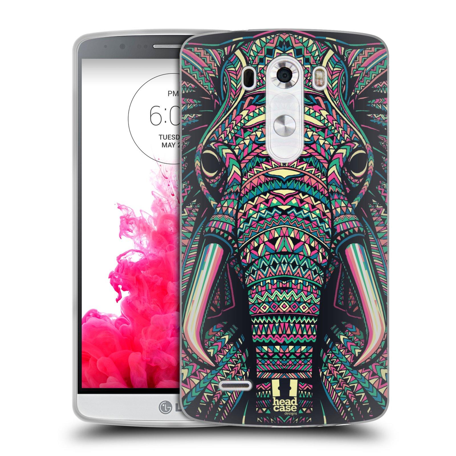 Silikonové pouzdro na mobil LG G3 HEAD CASE AZTEC SLON (Silikonový kryt či obal na mobilní telefon LG G3 D855)