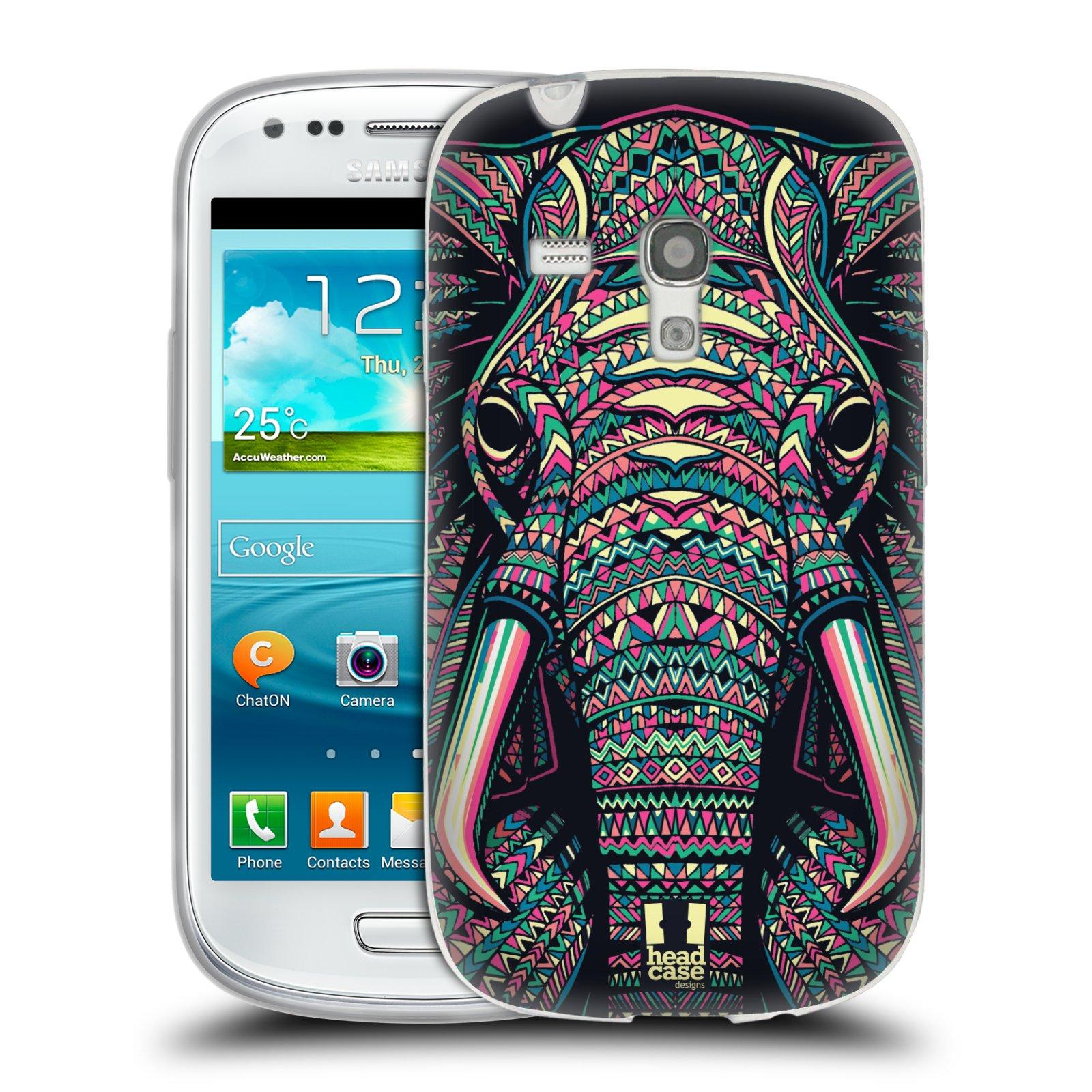 Silikonové pouzdro na mobil Samsung Galaxy S III Mini HEAD CASE AZTEC SLON (Silikonový kryt či obal na mobilní telefon Samsung Galaxy S III Mini GT-i8190)