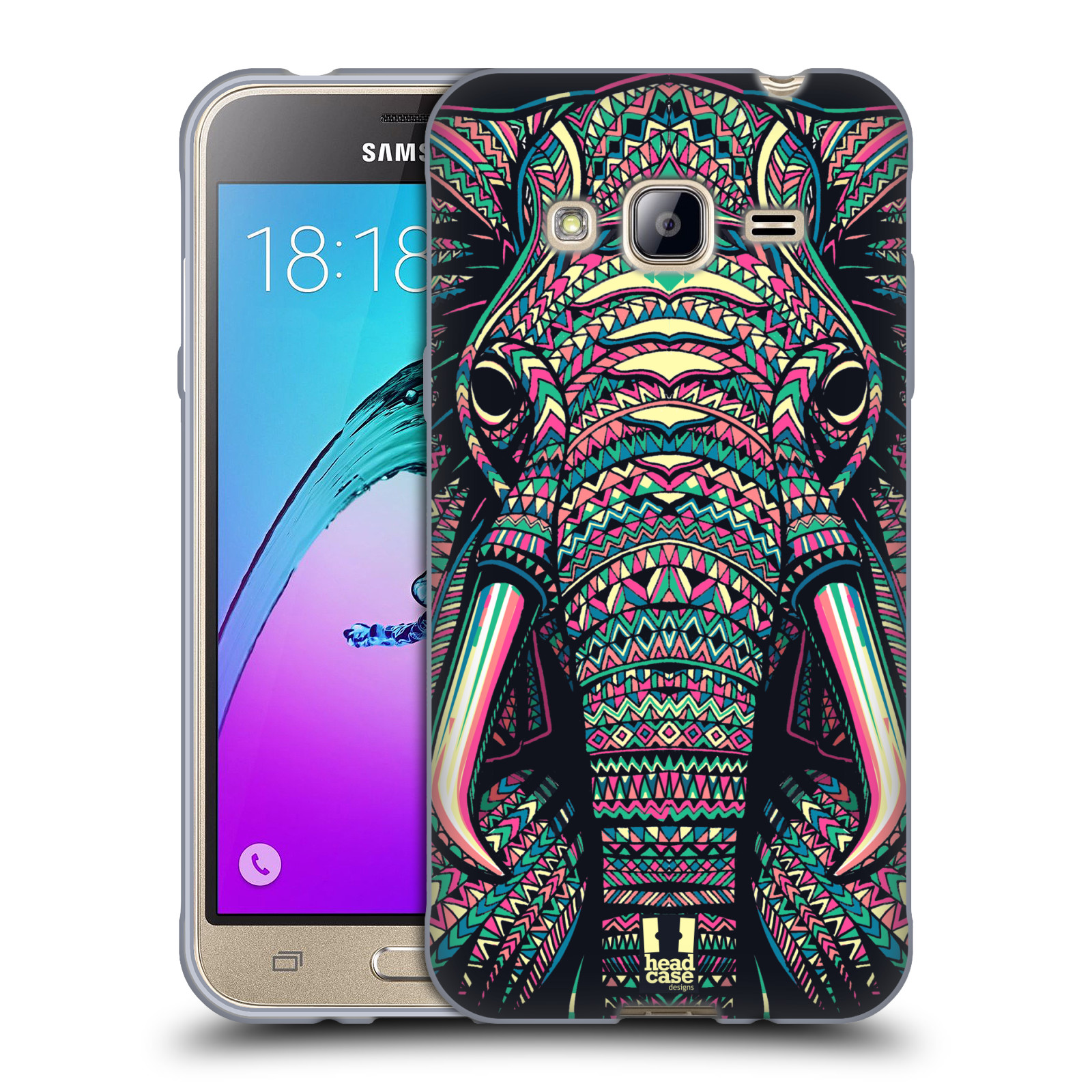 Silikonové pouzdro na mobil Samsung Galaxy J3 (2016) HEAD CASE AZTEC SLON