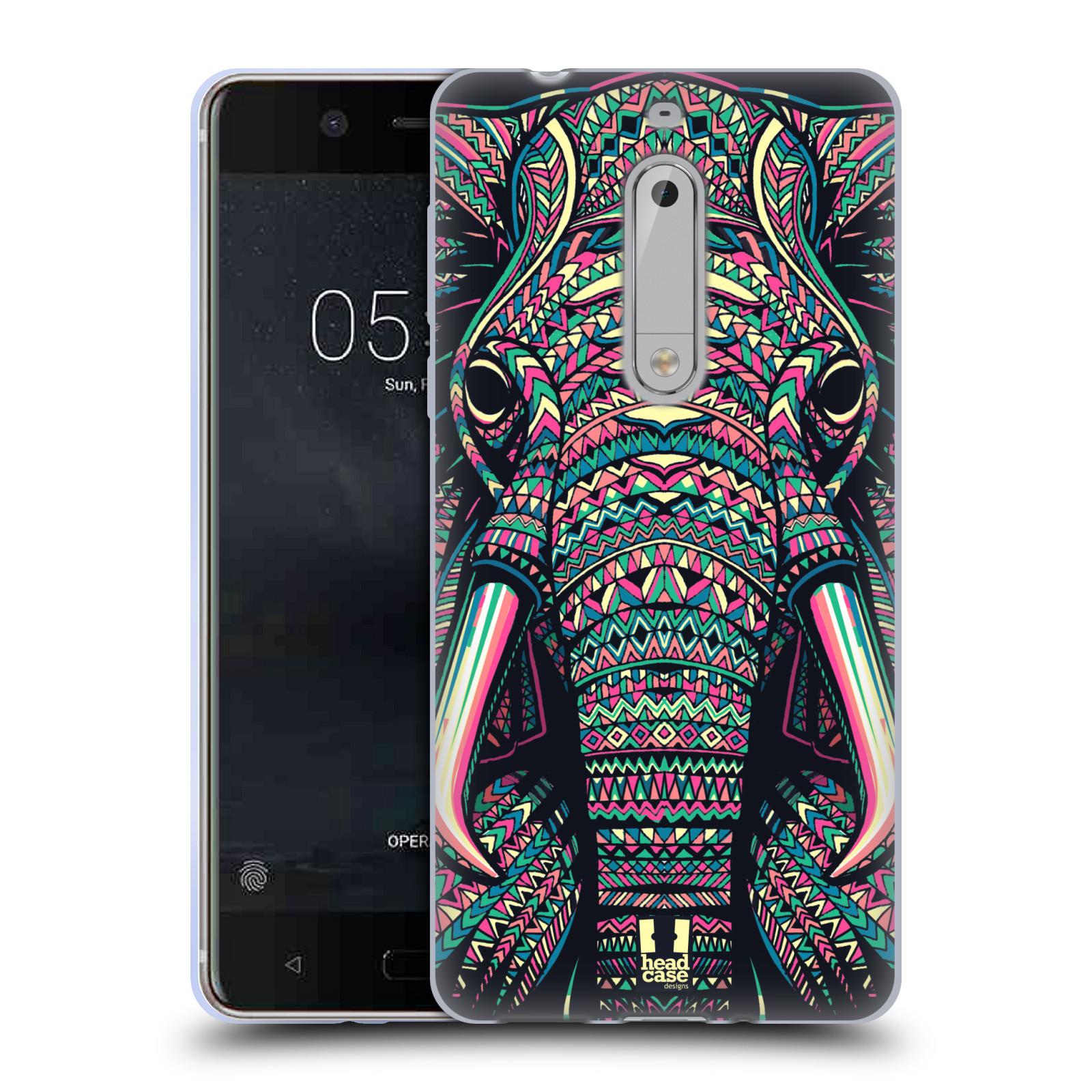 Silikonové pouzdro na mobil Nokia 5 Head Case - AZTEC SLON