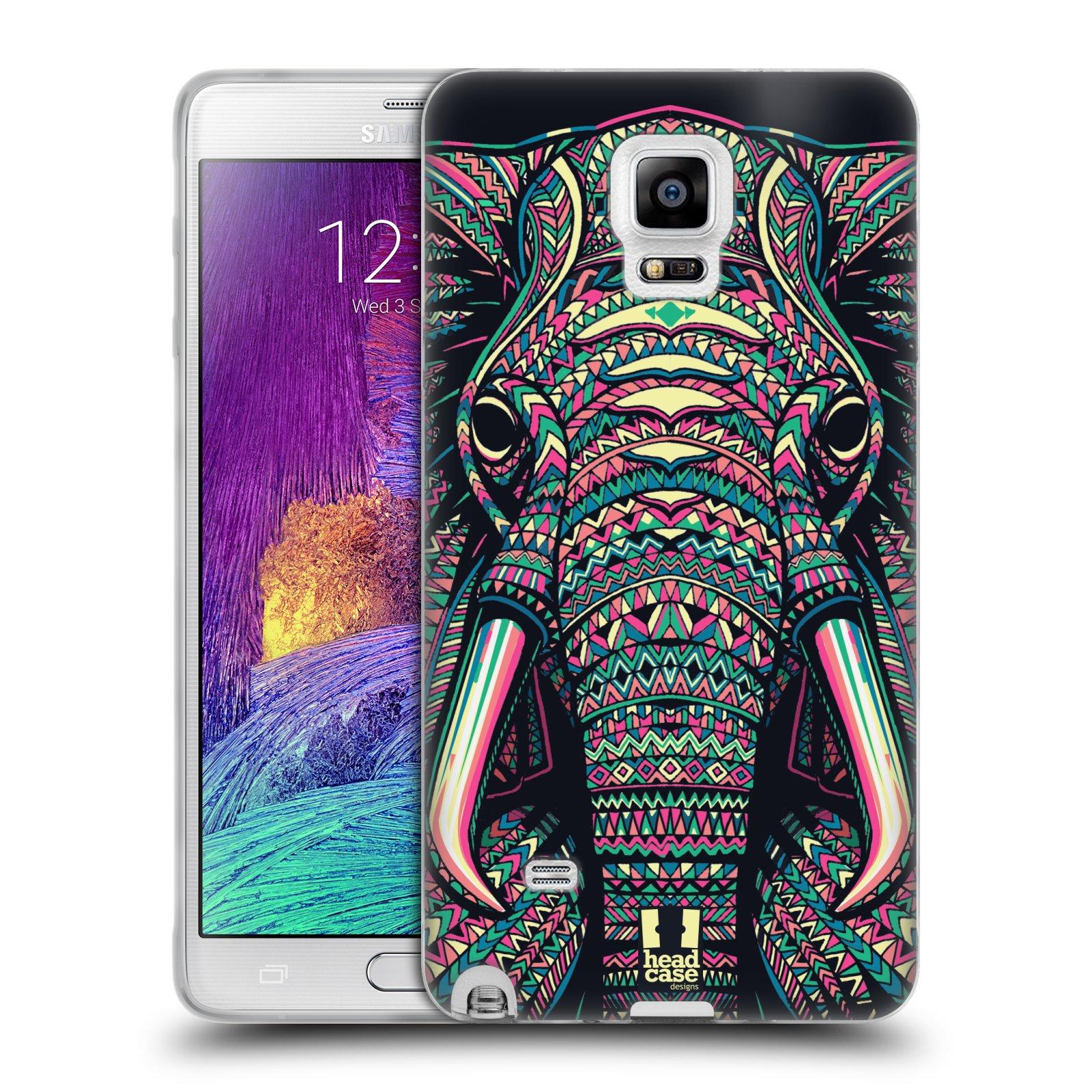Silikonové pouzdro na mobil Samsung Galaxy Note 4 HEAD CASE AZTEC SLON (Silikonový kryt či obal na mobilní telefon Samsung Galaxy Note 4 SM-N910F)