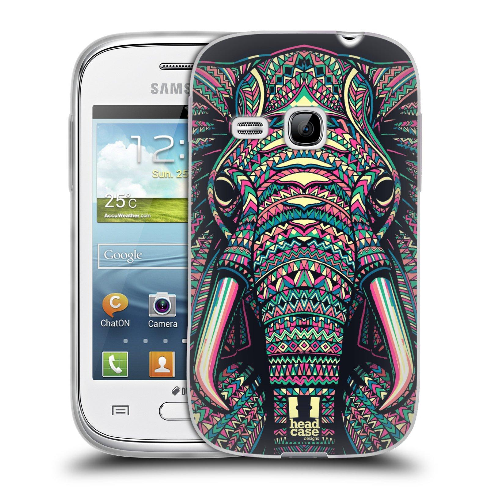 Silikonové pouzdro na mobil Samsung Galaxy Young HEAD CASE AZTEC SLON (Silikonový kryt či obal na mobilní telefon Samsung Galaxy Young GT-S6310)