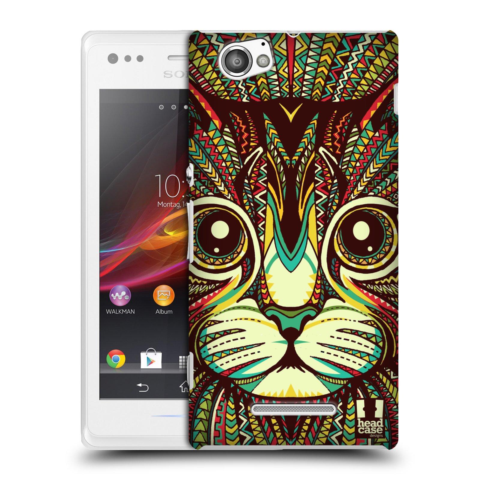Plastové pouzdro na mobil Sony Xperia M C1905 HEAD CASE AZTEC KOČKA