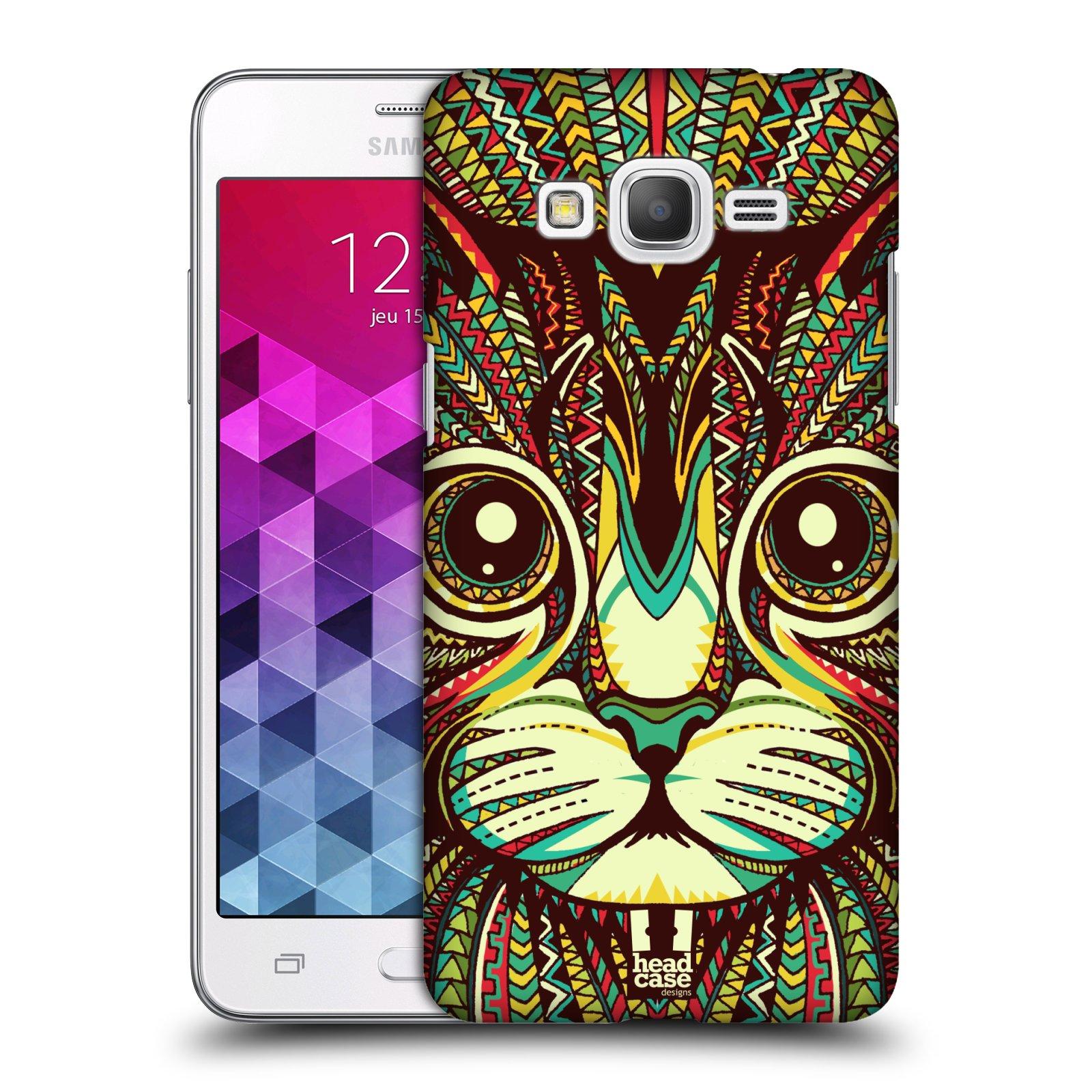 Plastové pouzdro na mobil Samsung Galaxy Grand Prime VE HEAD CASE AZTEC KOČKA