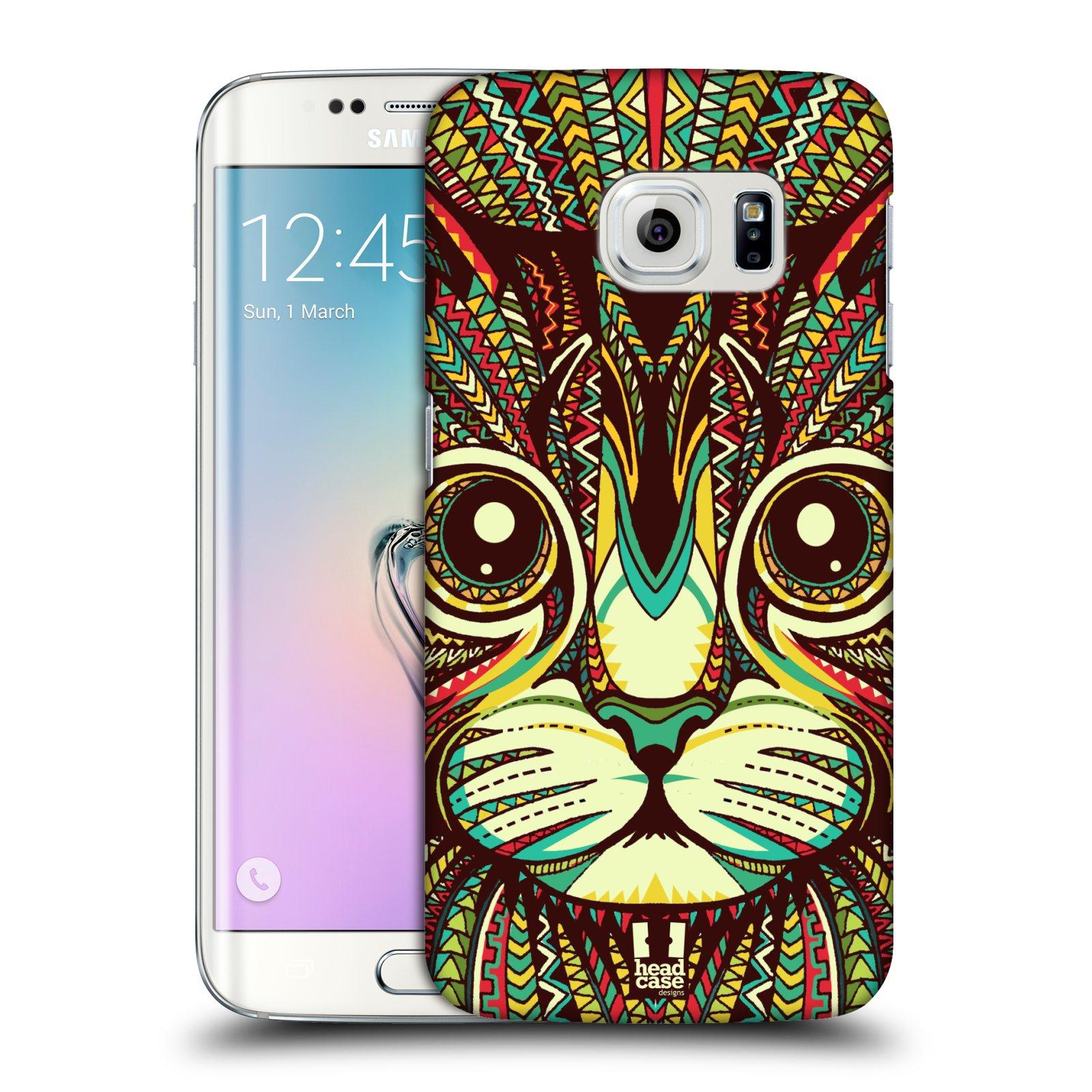 Plastové pouzdro na mobil Samsung Galaxy S6 Edge HEAD CASE AZTEC KOČKA (Kryt či obal na mobilní telefon Samsung Galaxy S6 Edge SM-G925F)