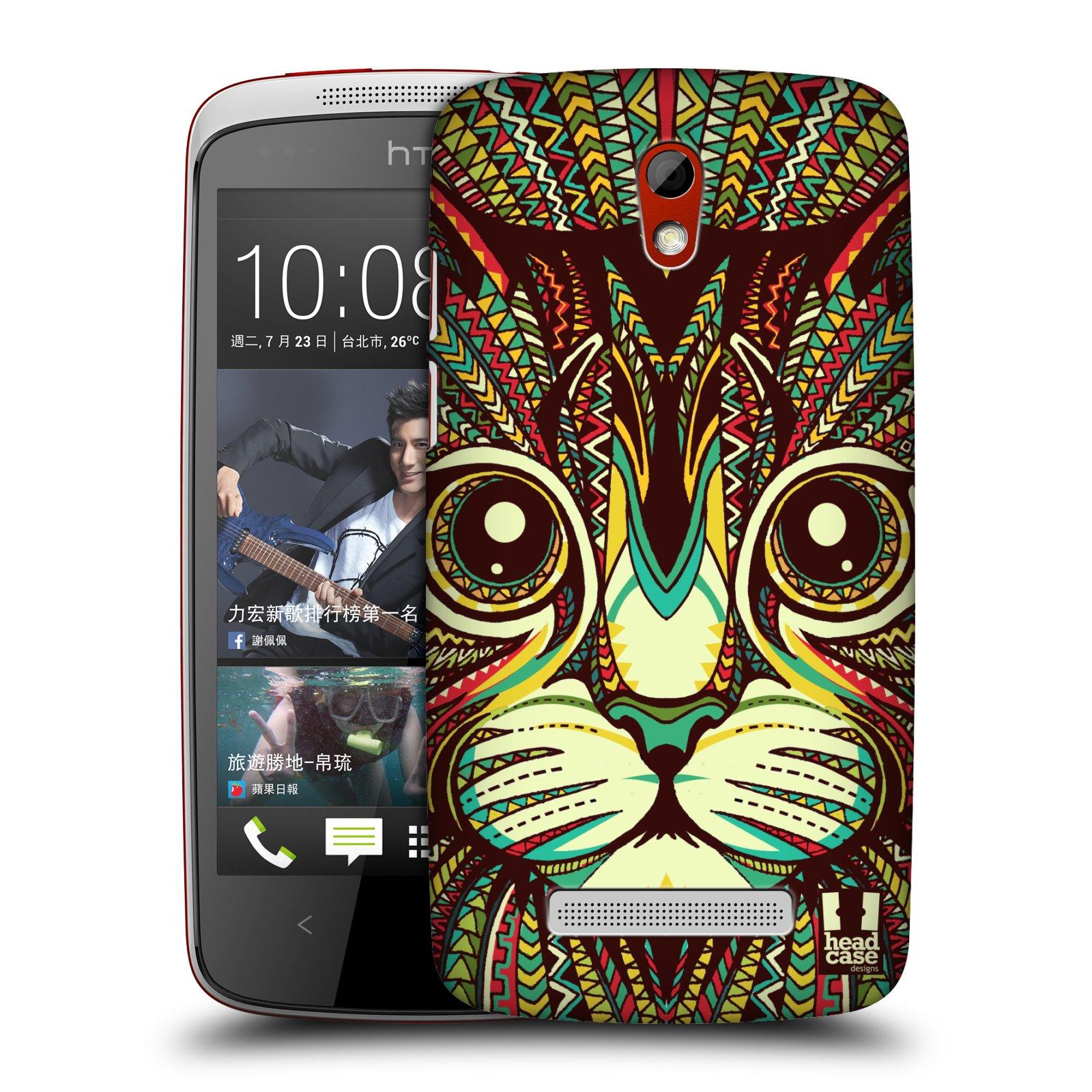 Plastové pouzdro na mobil HTC Desire 500 HEAD CASE AZTEC KOČKA (Kryt či obal na mobilní telefon HTC Desire 500)