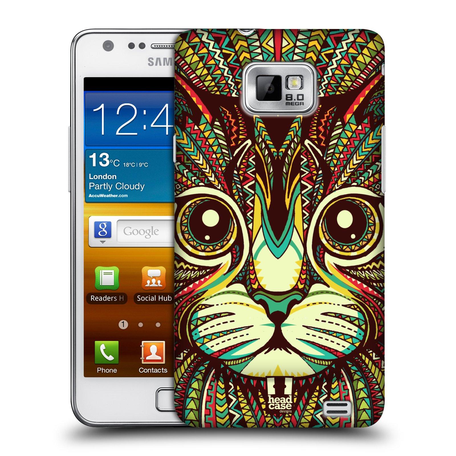 Plastové pouzdro na mobil Samsung Galaxy S II HEAD CASE AZTEC KOČKA (Kryt či obal na mobilní telefon Samsung Galaxy S II GT-i9100)