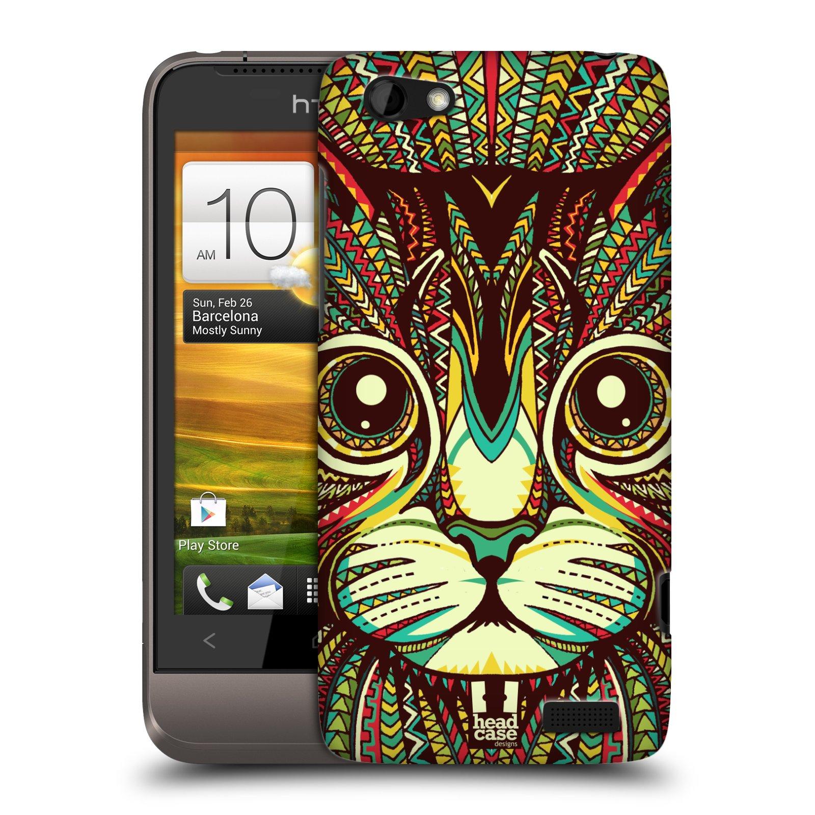 Plastové pouzdro na mobil HTC ONE V HEAD CASE AZTEC KOČKA (Kryt či obal na mobilní telefon HTC ONE V)