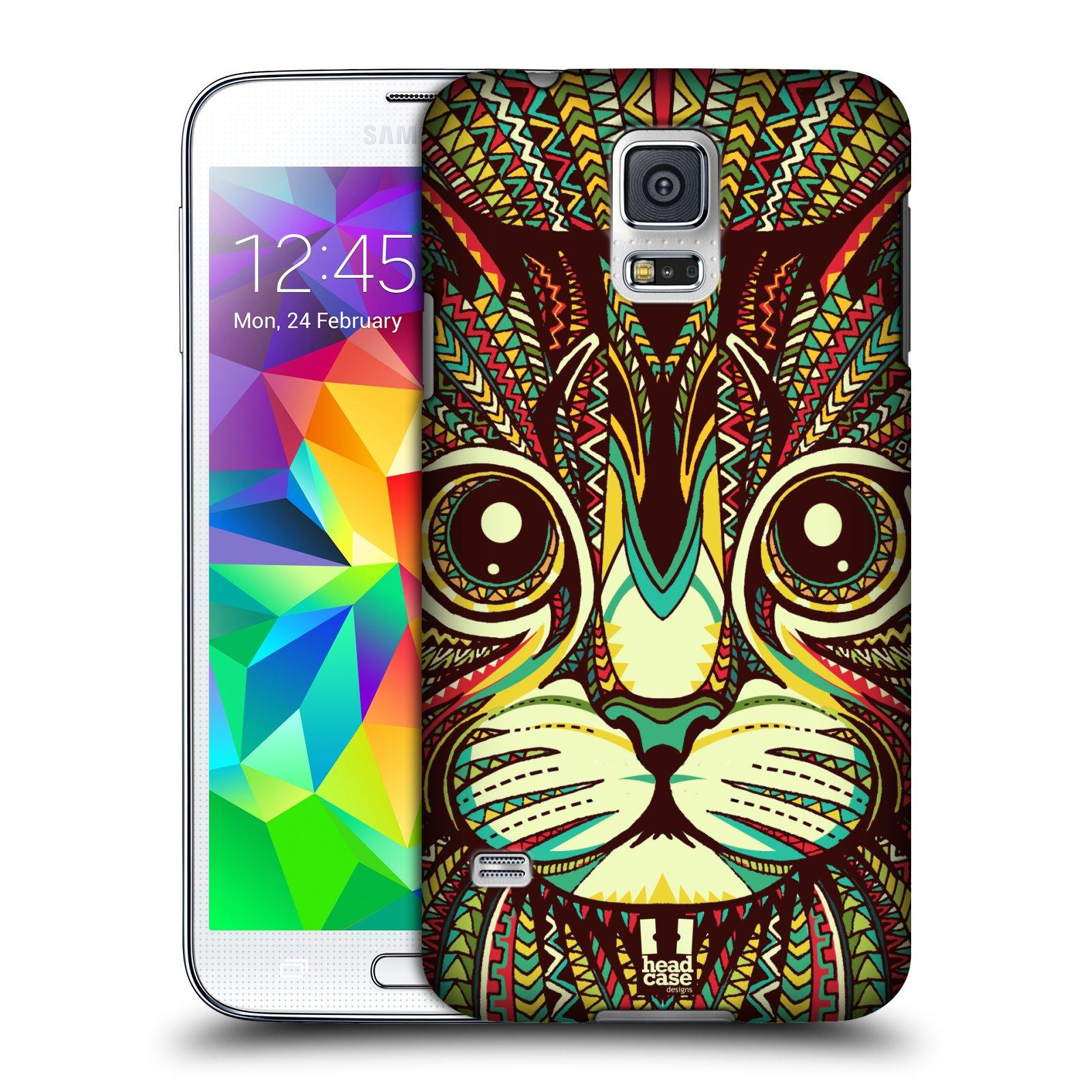 Plastové pouzdro na mobil Samsung Galaxy S5 HEAD CASE AZTEC KOČKA