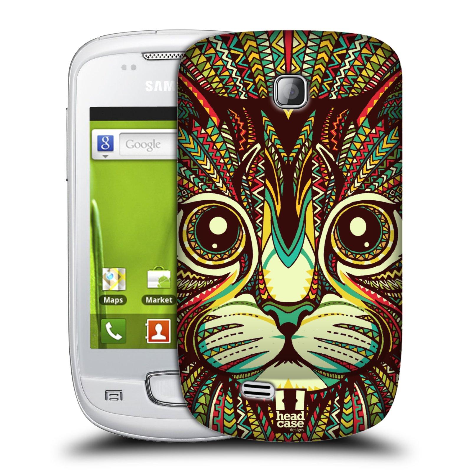 Plastové pouzdro na mobil Samsung Galaxy Mini HEAD CASE AZTEC KOČKA (Kryt či obal na mobilní telefon Samsung Galaxy Mini GT-S5570 / GT-S5570i)