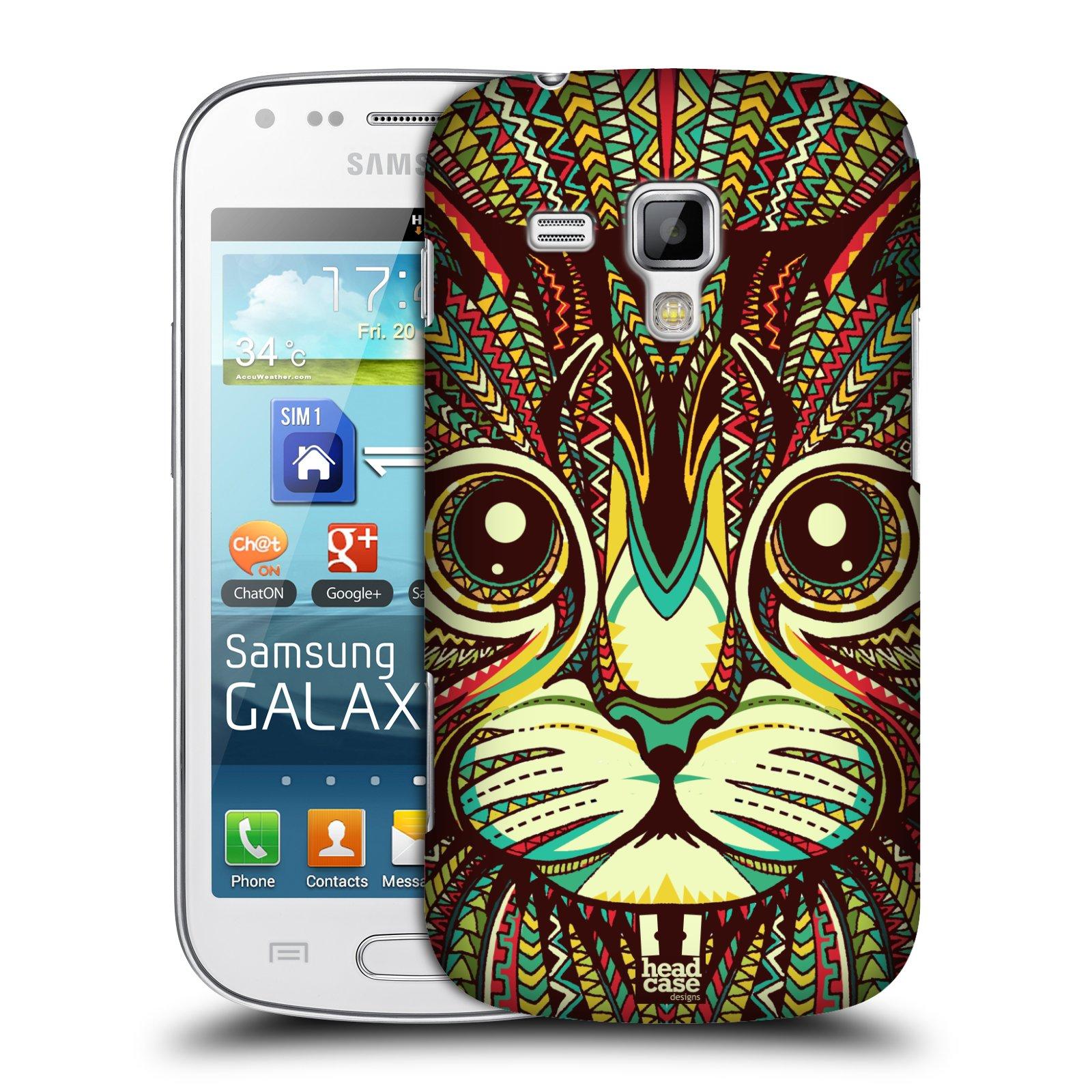 Plastové pouzdro na mobil Samsung Galaxy S Duos HEAD CASE AZTEC KOČKA (Kryt či obal na mobilní telefon Samsung Galaxy S Duos GT-S7562)
