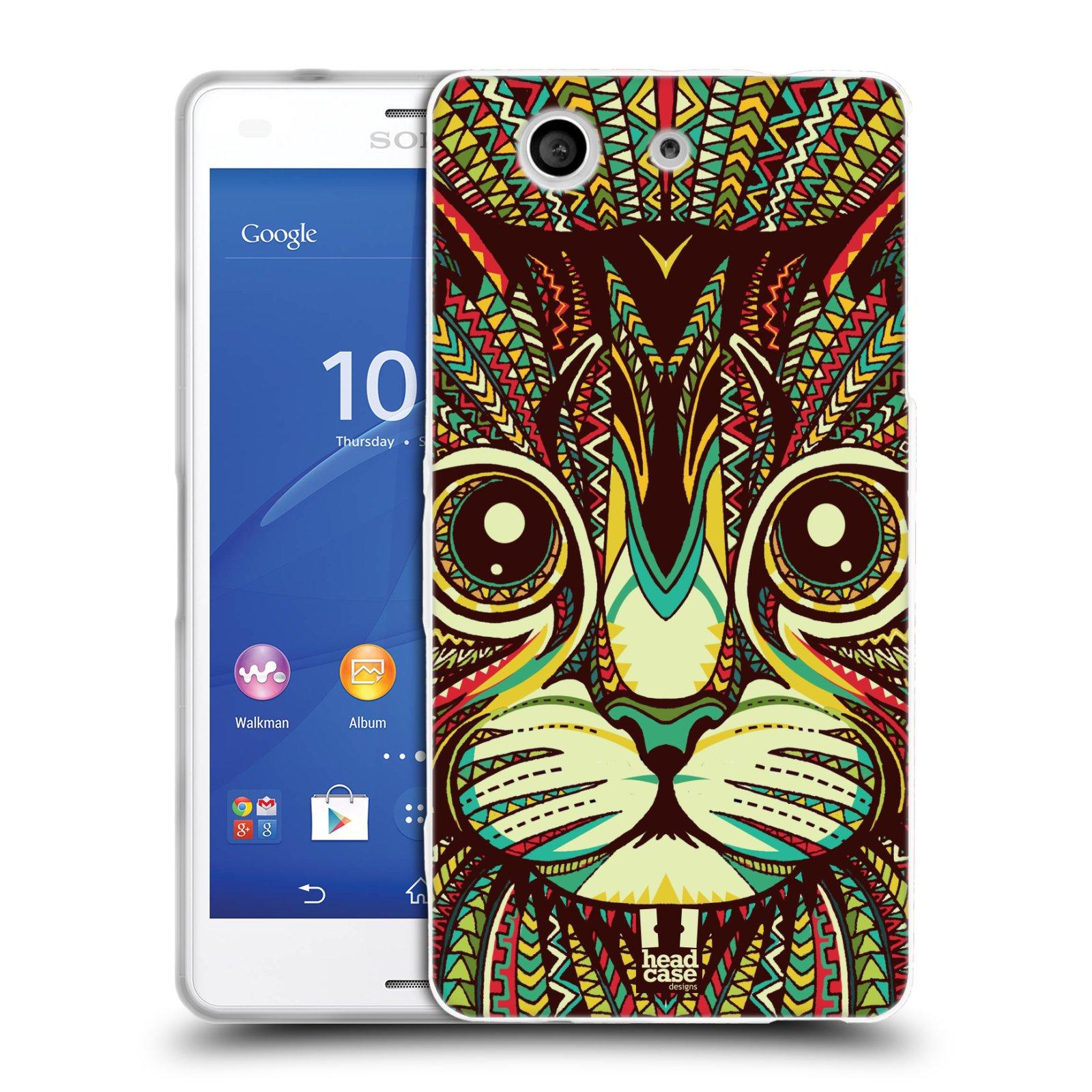 Silikonové pouzdro na mobil Sony Xperia Z3 Compact D5803 HEAD CASE AZTEC KOČKA