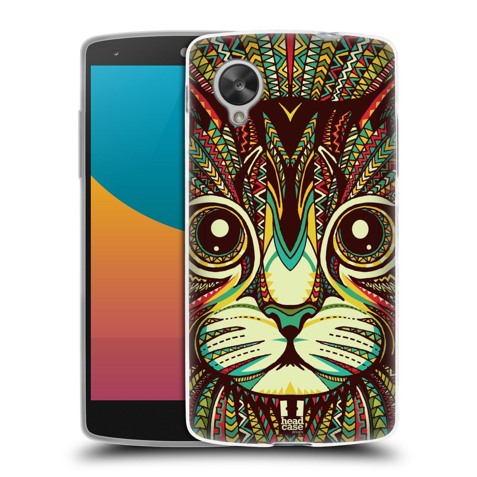 Silikonové pouzdro na mobil LG Nexus 5 HEAD CASE AZTEC KOČKA (Silikonový kryt či obal na mobilní telefon LG Google Nexus 5 D821)