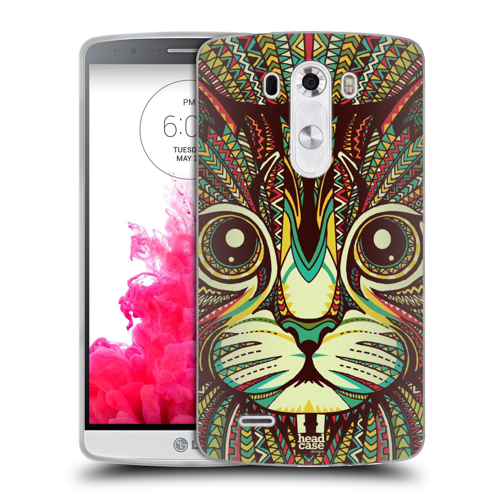 Silikonové pouzdro na mobil LG G3 HEAD CASE AZTEC KOČKA (Silikonový kryt či obal na mobilní telefon LG G3 D855)