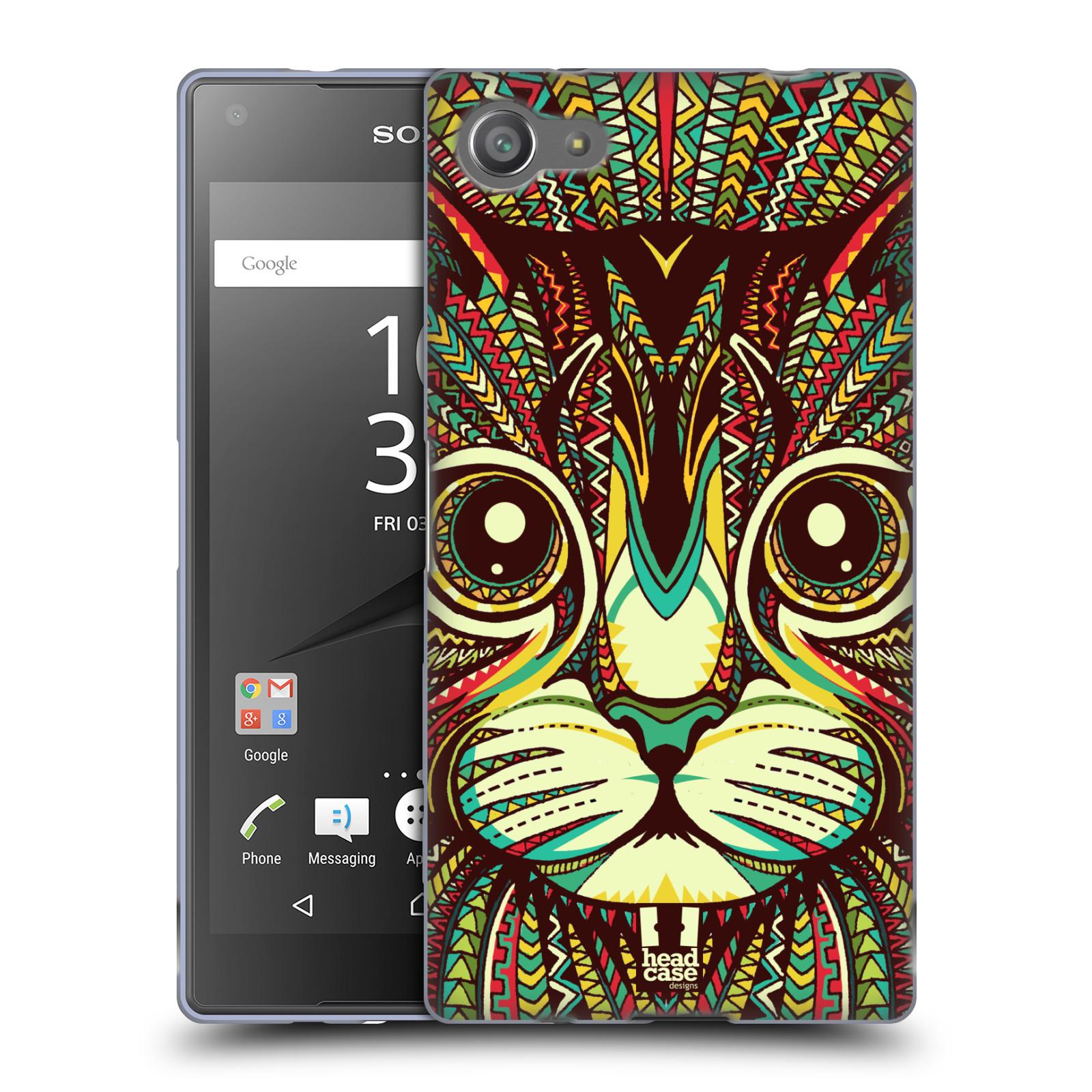 Silikonové pouzdro na mobil Sony Xperia Z5 Compact HEAD CASE AZTEC KOČKA