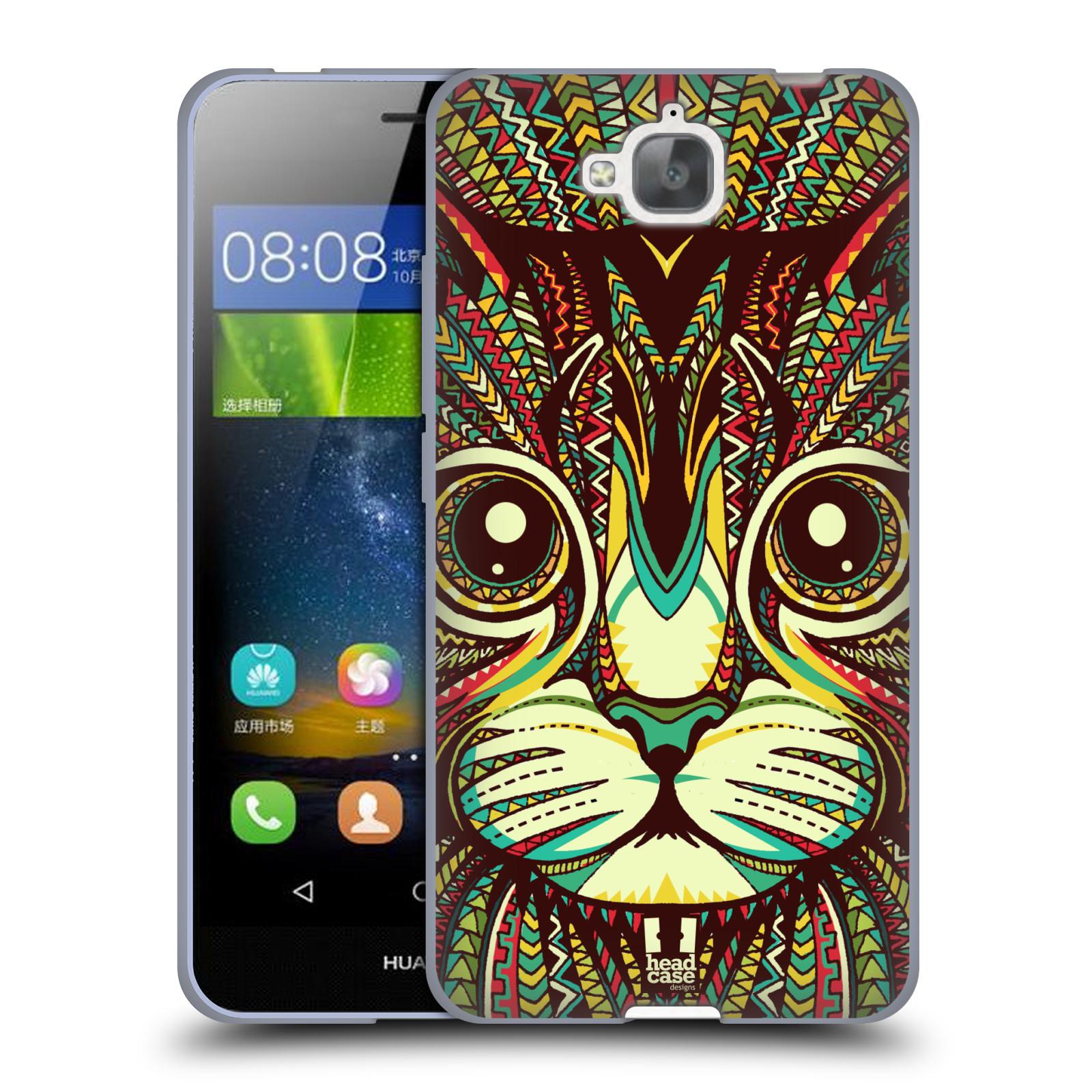Silikonové pouzdro na mobil Huawei Y6 Pro Dual Sim HEAD CASE AZTEC KOČKA